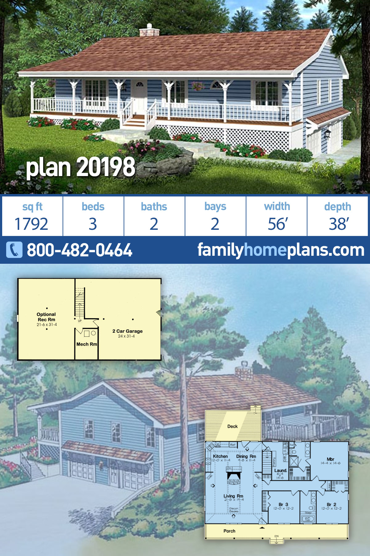 Country, Traditional House Plan 20198 with 3 Beds , 2 Baths , 2 Car Garage