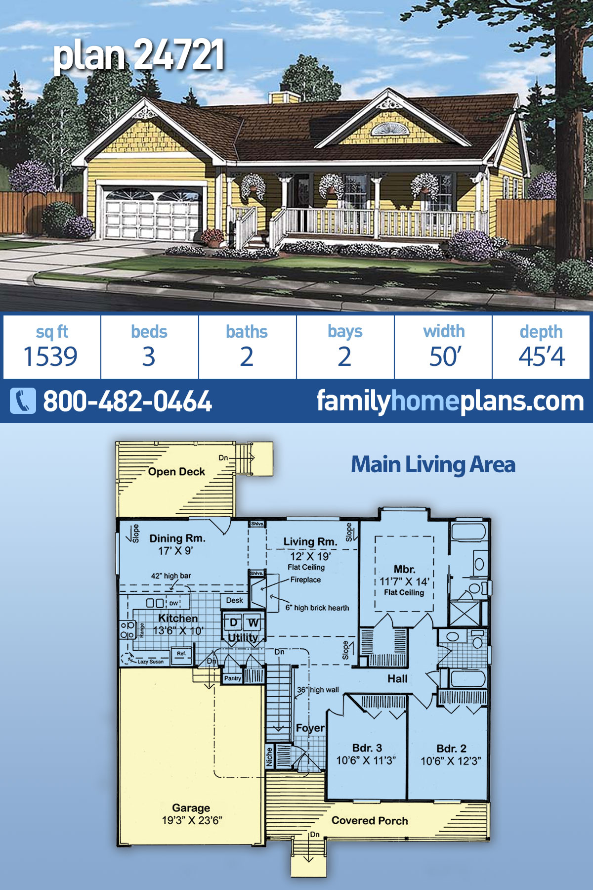 Bungalow, Country, Southern, Traditional House Plan 24721 with 3 Beds, 2 Baths, 2 Car Garage
