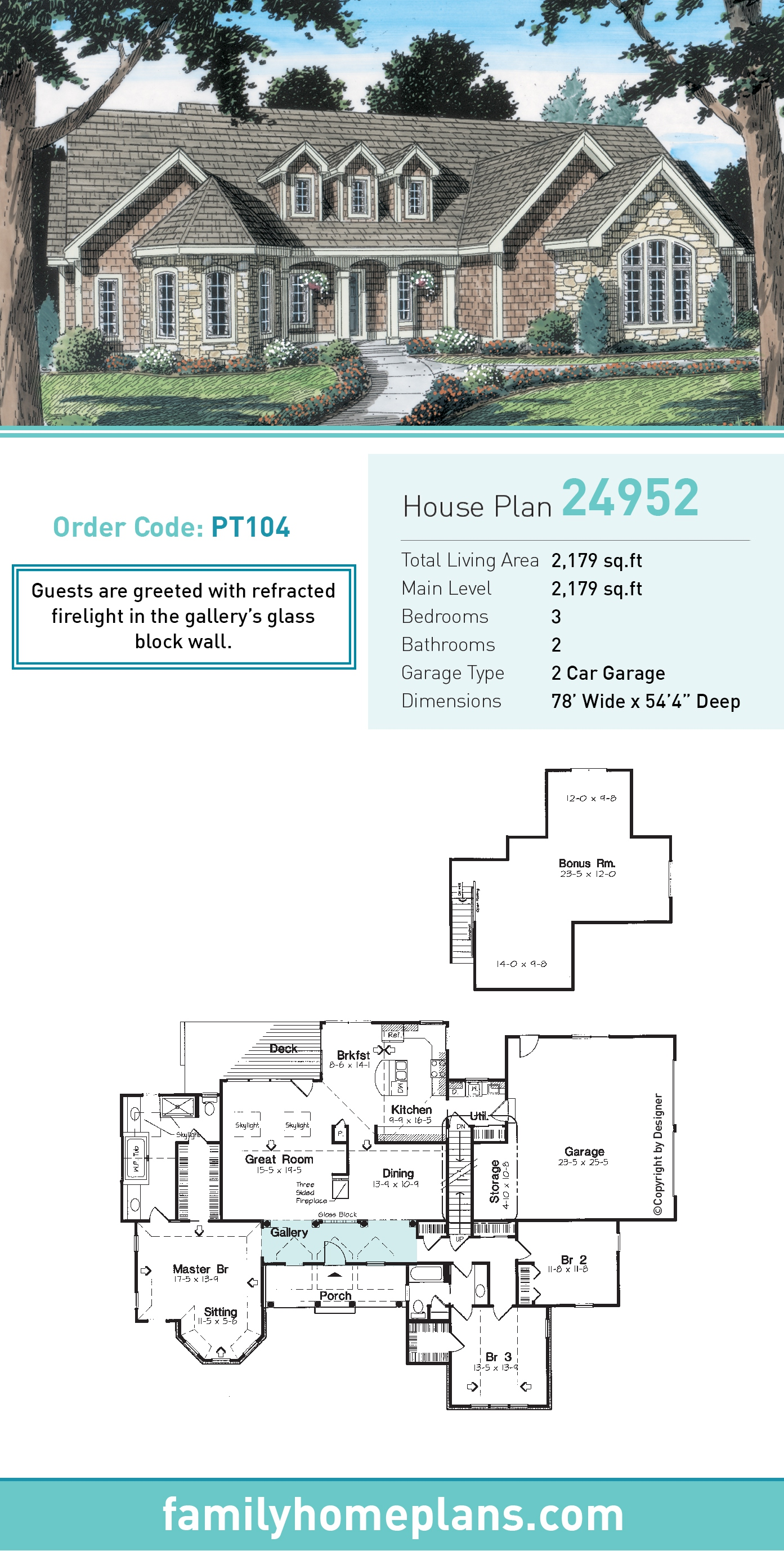 Country, European, Ranch, Traditional House Plan 24952 with 3 Beds , 2 Baths , 2 Car Garage