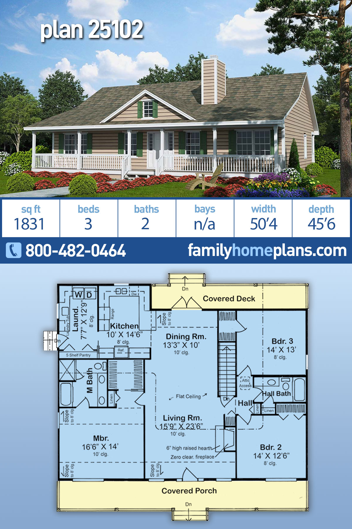 Country , Ranch , Traditional House Plan 25102 with 3 Beds, 2 Baths