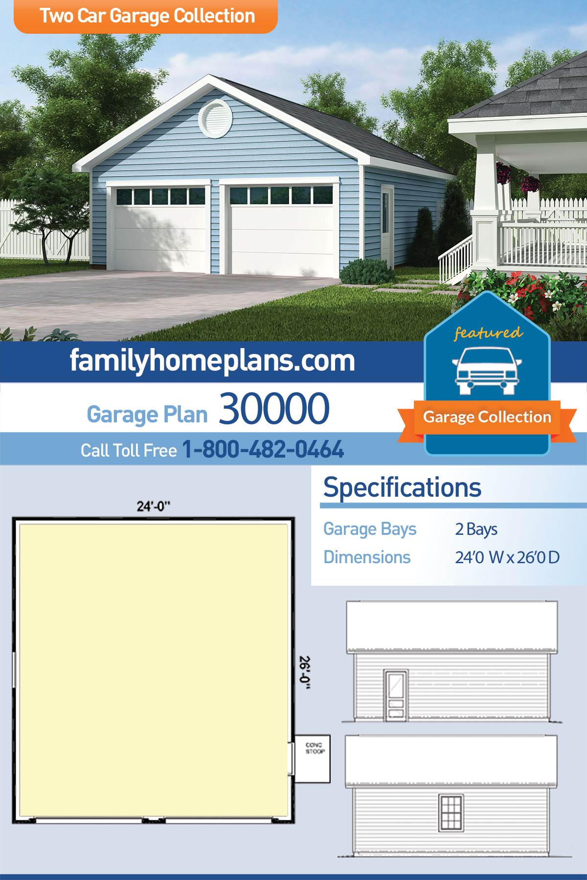Country, Traditional 2 Car Garage Plan 30000