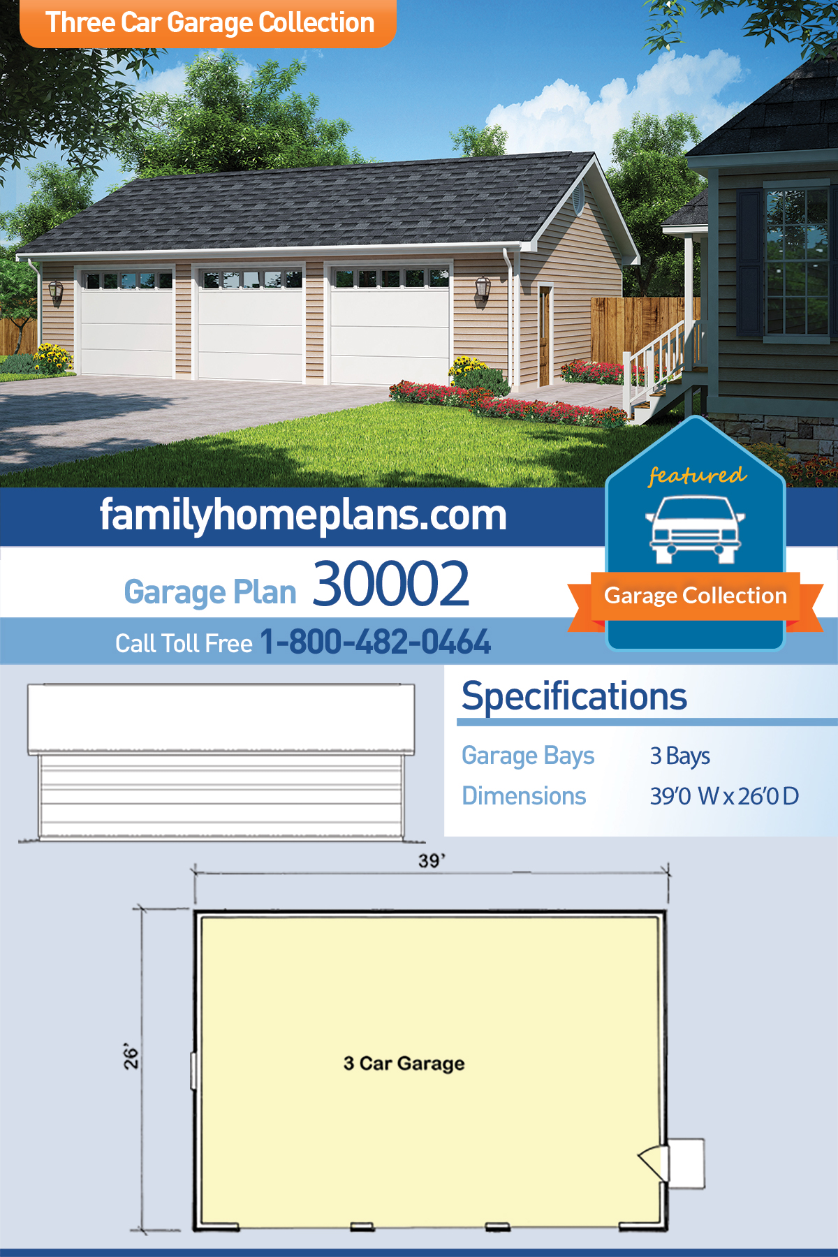 Country, Ranch, Traditional 3 Car Garage Plan 30002