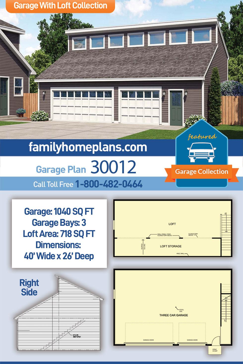 Contemporary 3 Car Garage Plan 30012