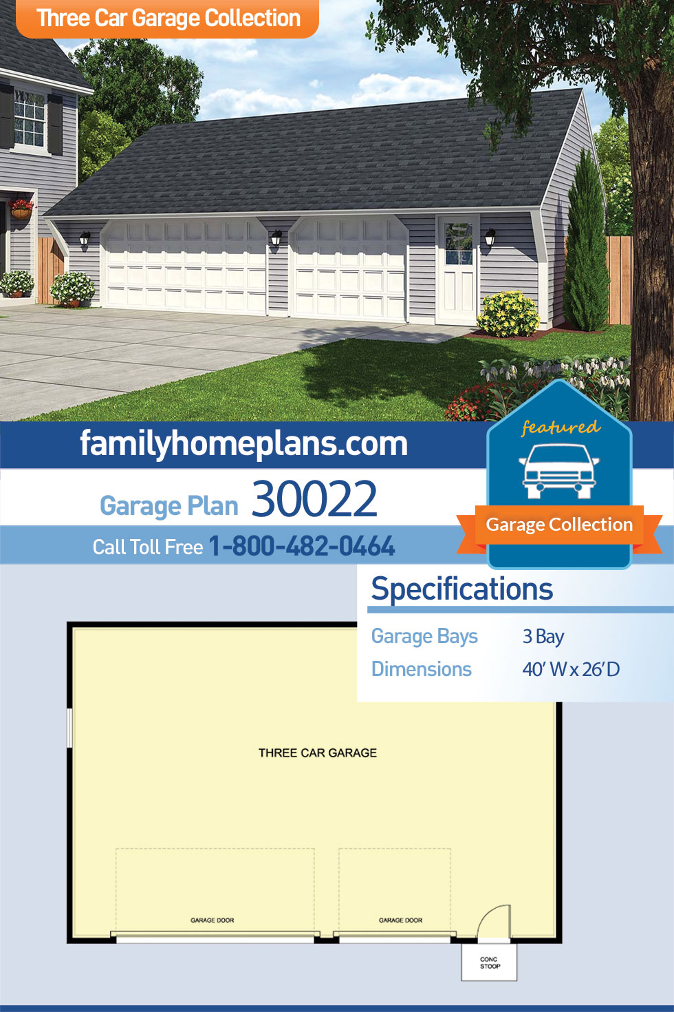Cape Cod , Saltbox , Traditional 3 Car Garage Plan 30022