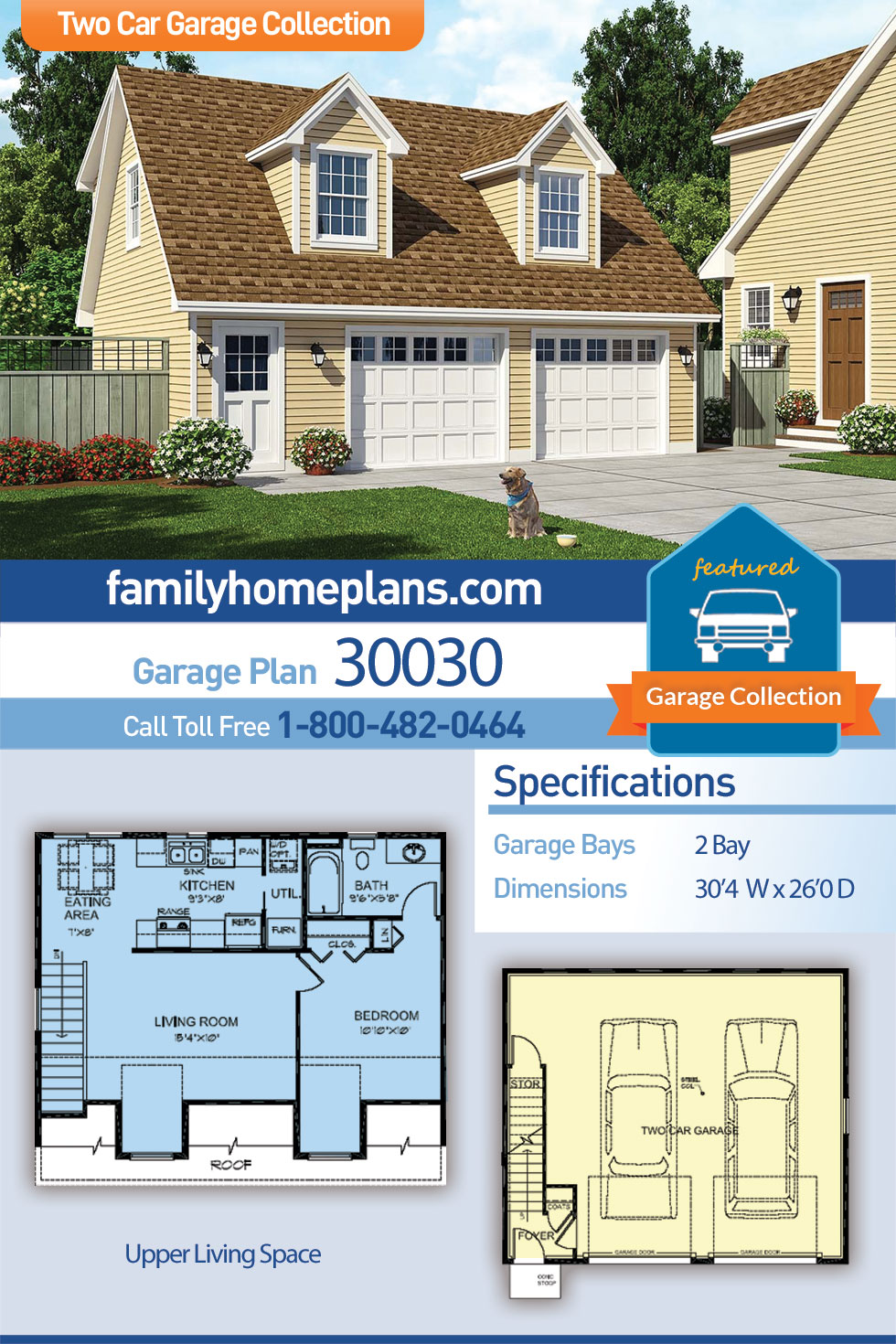 Cape Cod, Cottage, Country, Farmhouse, Saltbox 2 Car Garage Apartment Plan 30030 with 1 Beds, 1 Baths