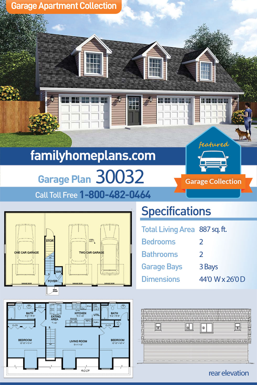 Cape Cod , Cottage , Country , Farmhouse , Saltbox 3 Car Garage Apartment Plan 30032 with 2 Beds, 2 Baths