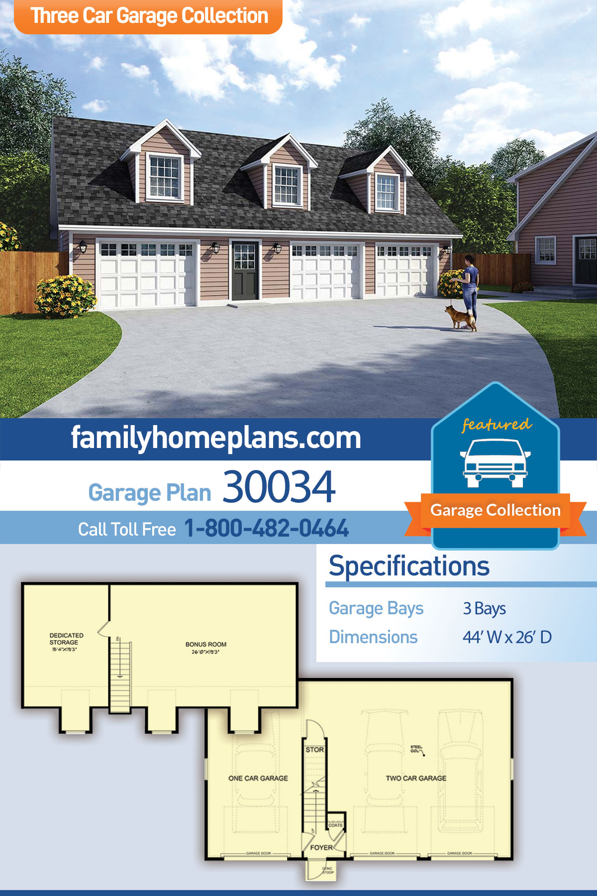 Cape Cod, Saltbox, Traditional 3 Car Garage Apartment Plan 30034