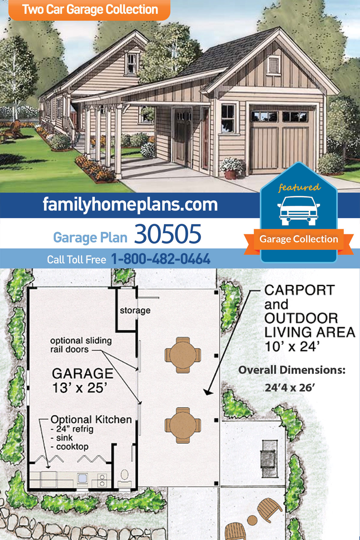 Craftsman, Farmhouse, Traditional 2 Car Garage Plan 30505