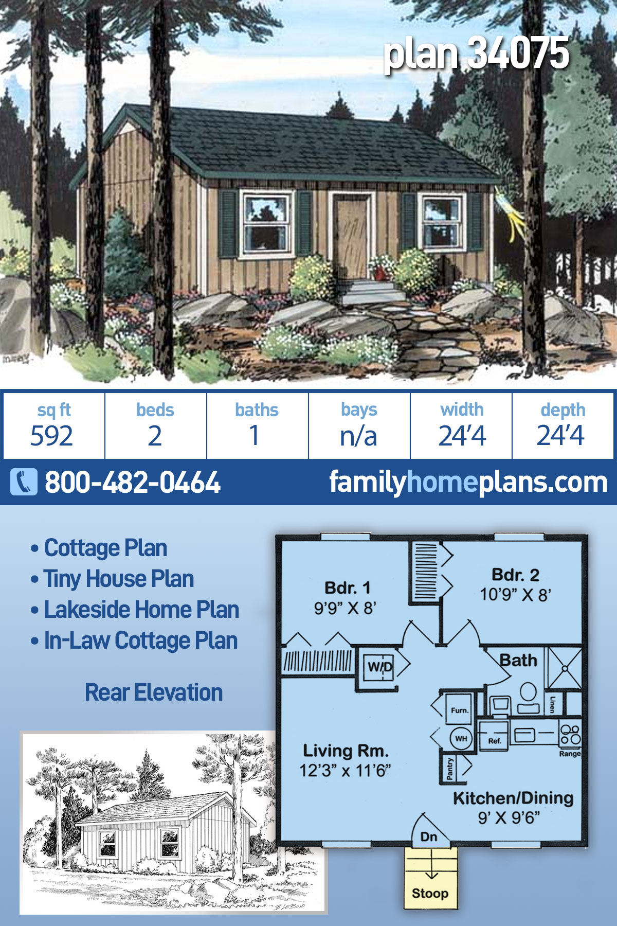 Cabin, Cottage, Traditional House Plan 34075 with 2 Beds, 1 Baths
