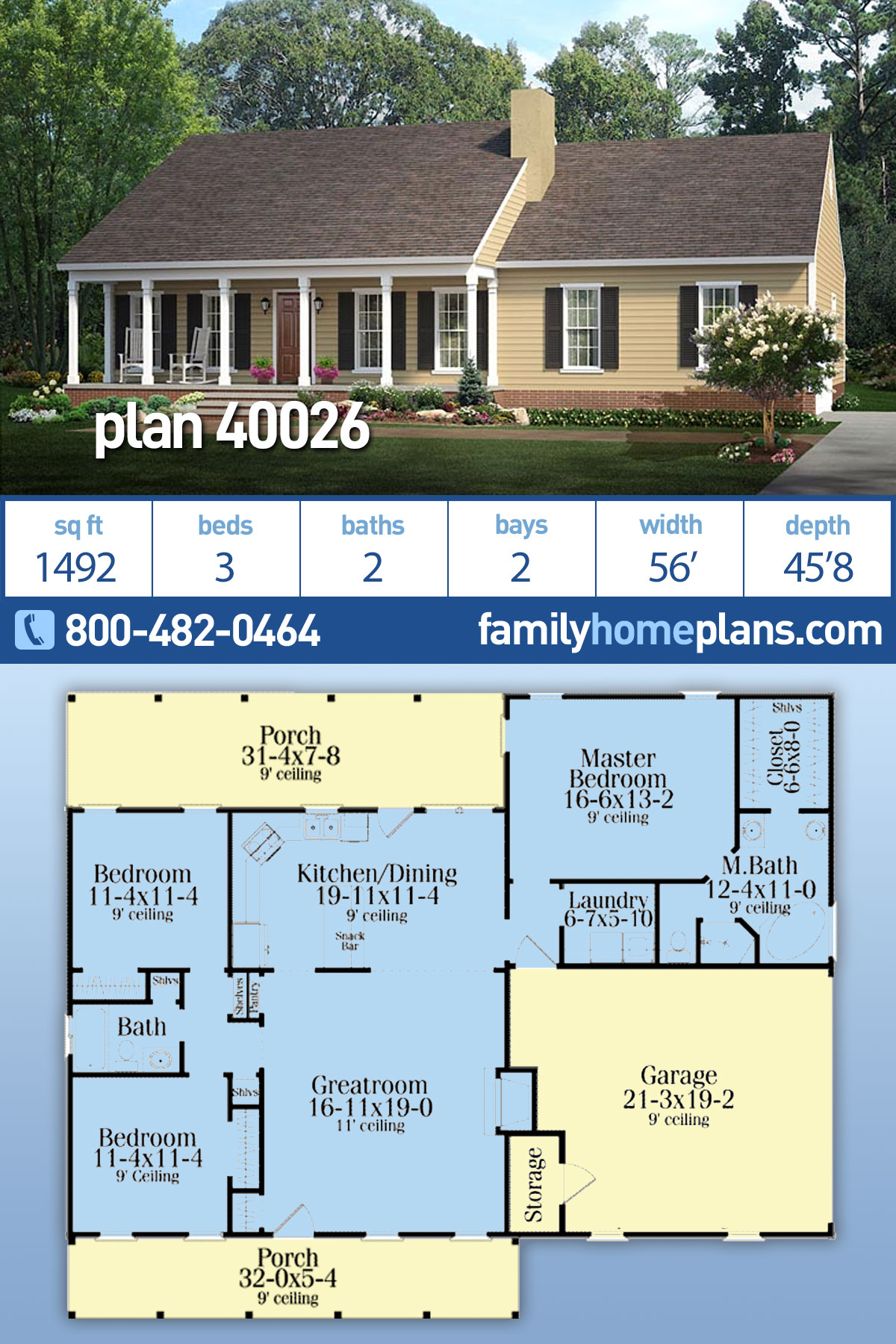Country, Ranch House Plan 40026 with 3 Beds, 2 Baths, 2 Car Garage