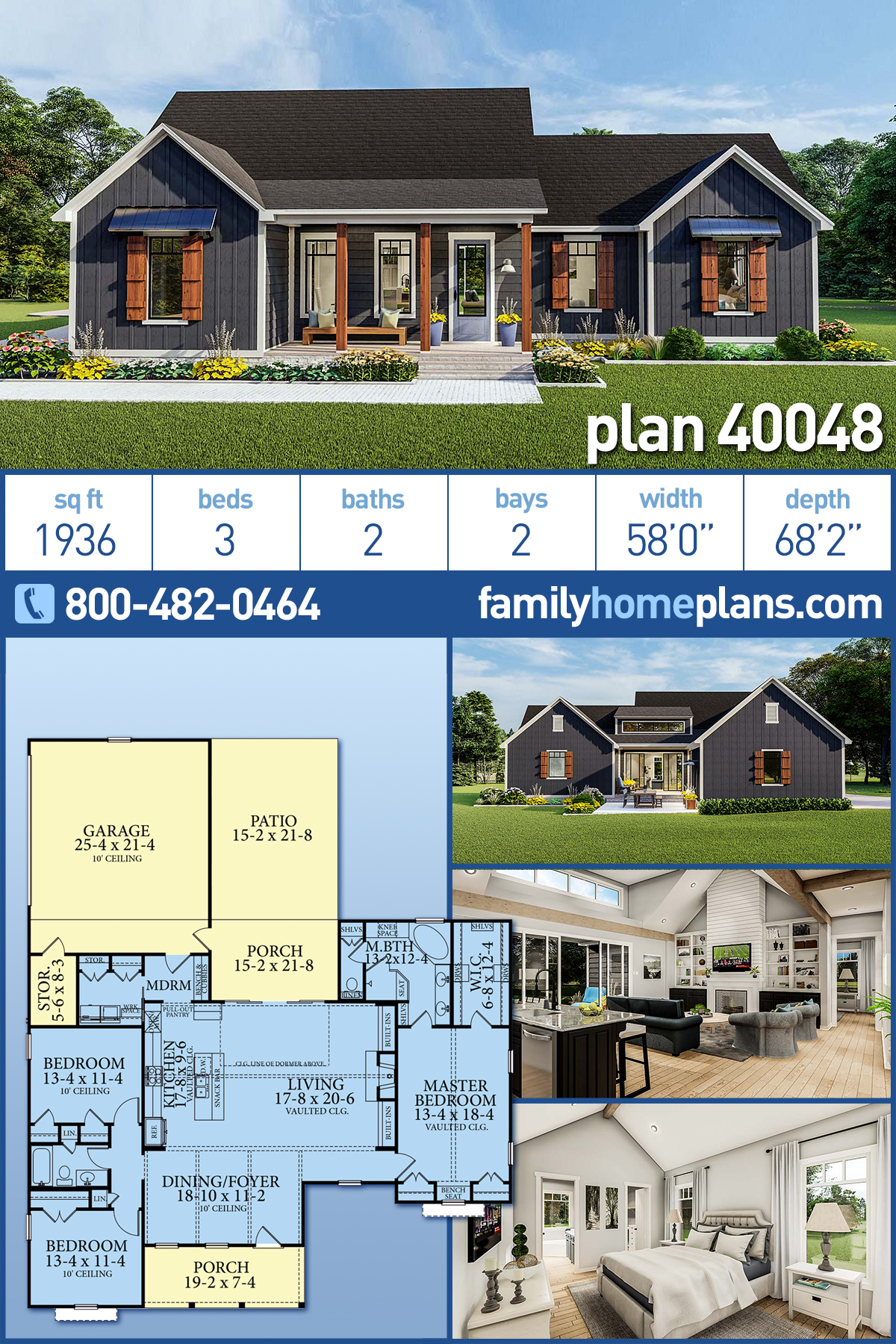 Cottage , Country , Craftsman , Farmhouse , Ranch , Southern , Traditional House Plan 40048 with 3 Beds, 2 Baths, 2 Car Garage