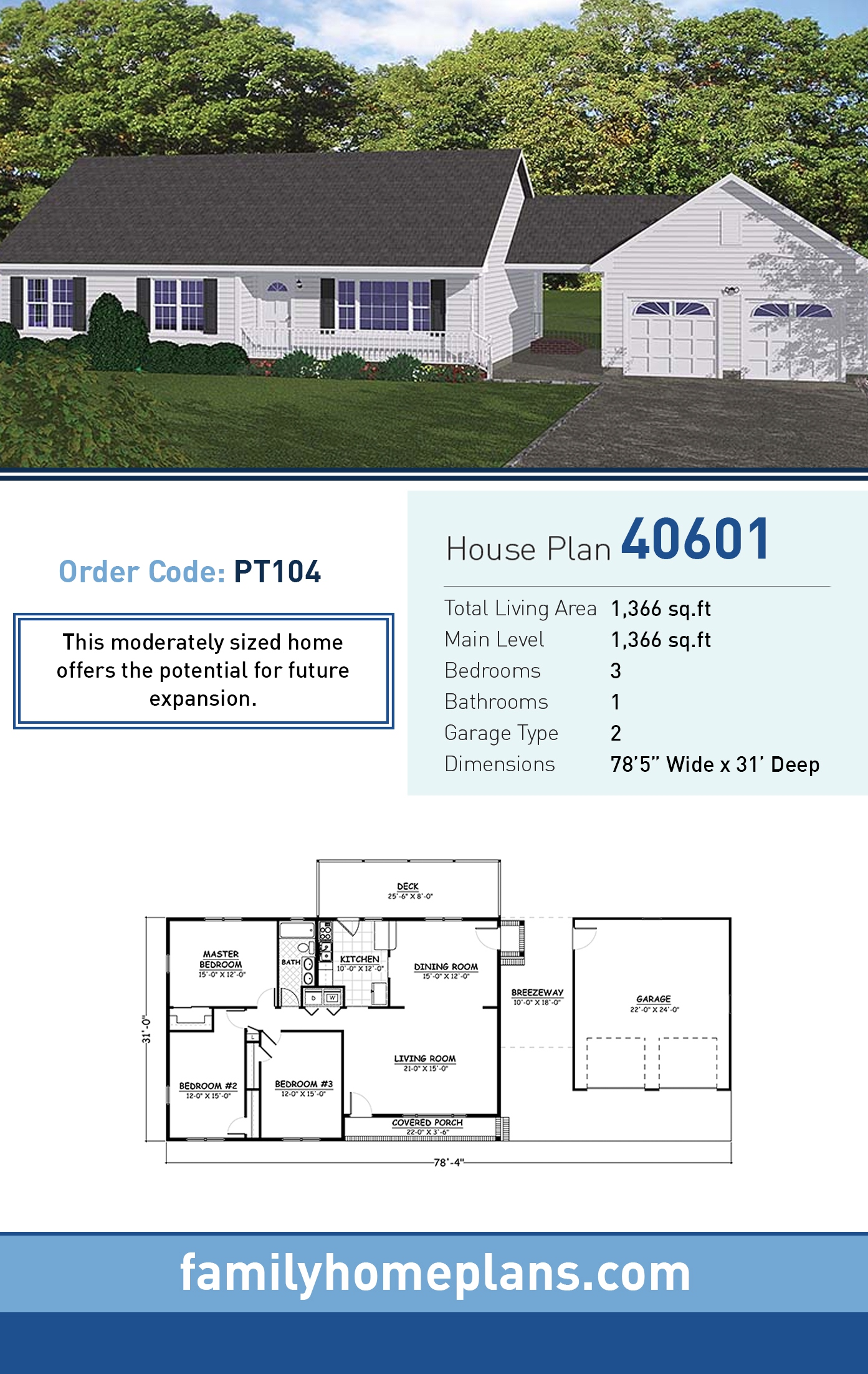 Country , Ranch , Southern , Traditional House Plan 40601 with 3 Beds, 1 Baths, 2 Car Garage