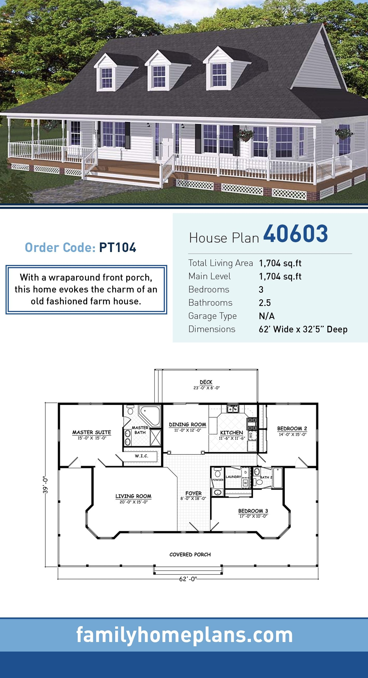 Country, Farmhouse, Southern House Plan 40603 with 3 Beds, 3 Baths