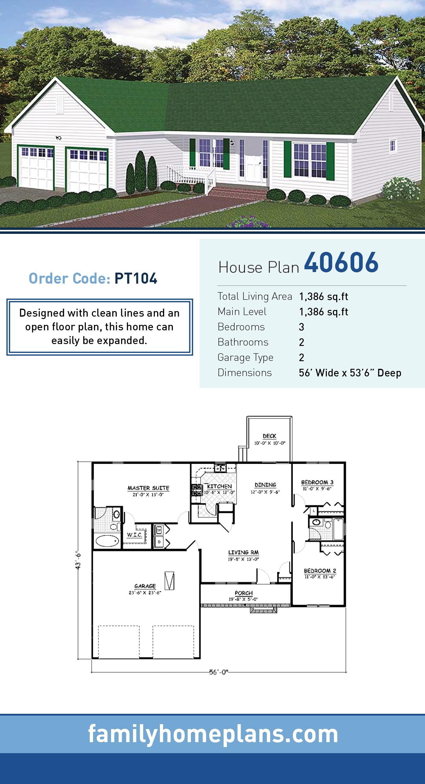 Ranch, Tudor House Plan 40606 with 3 Beds, 2 Baths, 2 Car Garage