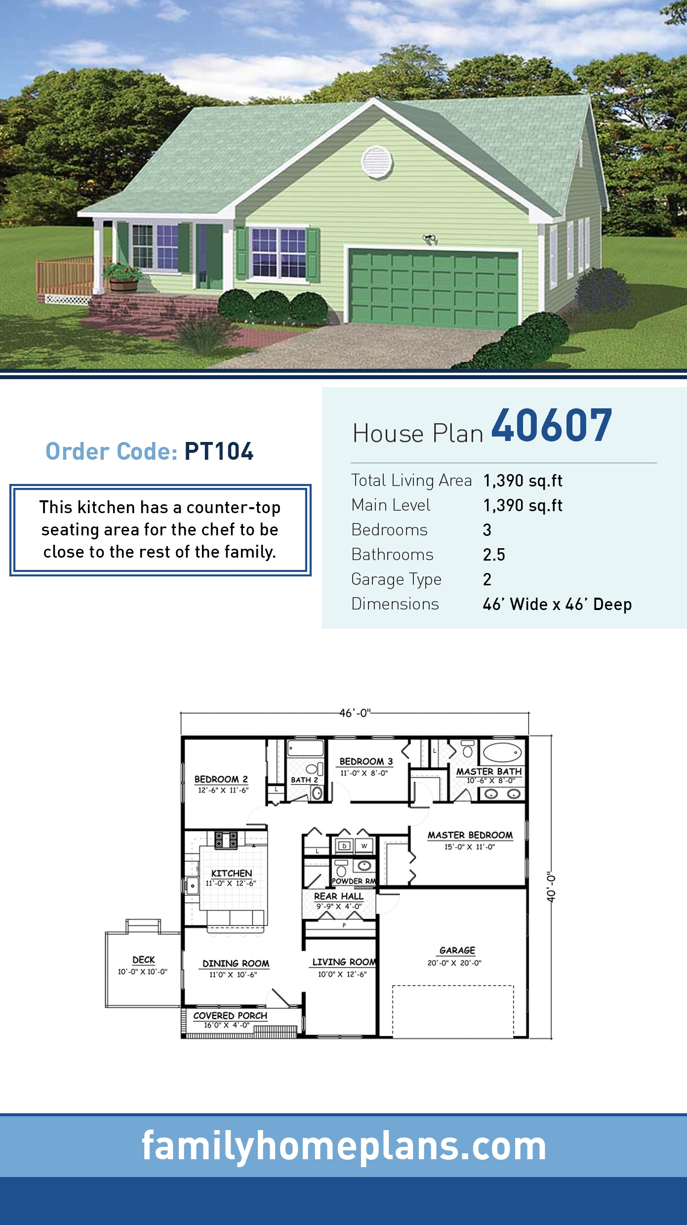 Ranch, Traditional House Plan 40607 with 3 Beds, 3 Baths, 2 Car Garage
