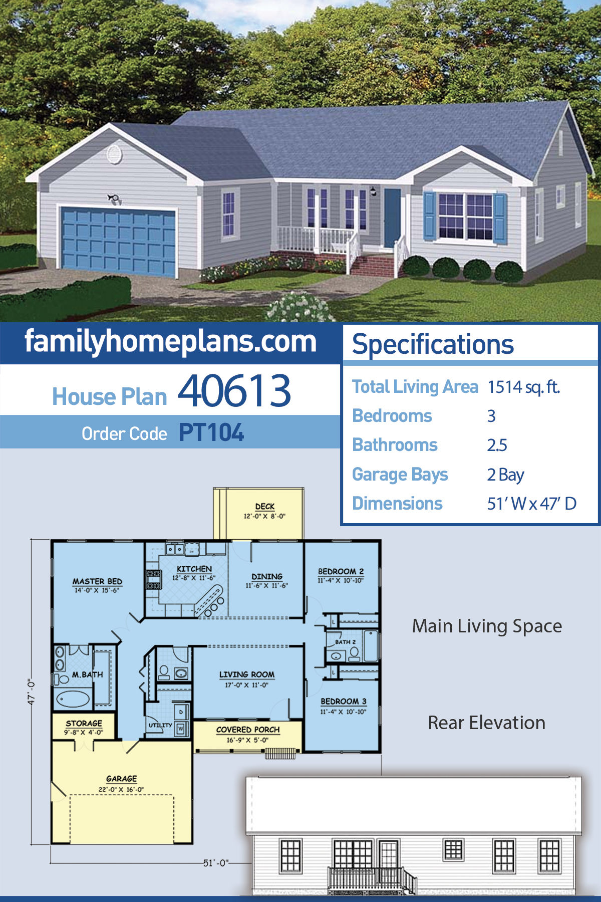 Ranch, Traditional House Plan 40613 with 3 Beds , 3 Baths , 2 Car Garage