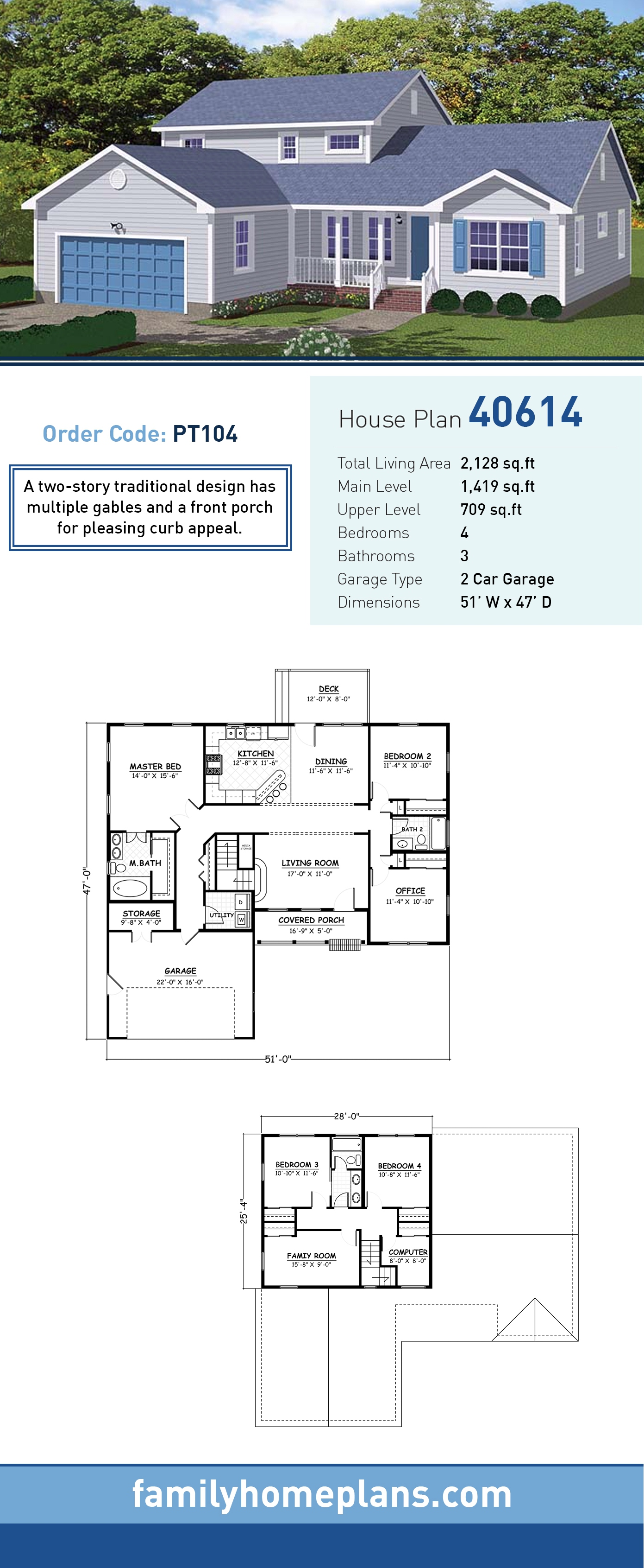 Country, Traditional House Plan 40614 with 4 Beds, 3 Baths, 2 Car Garage