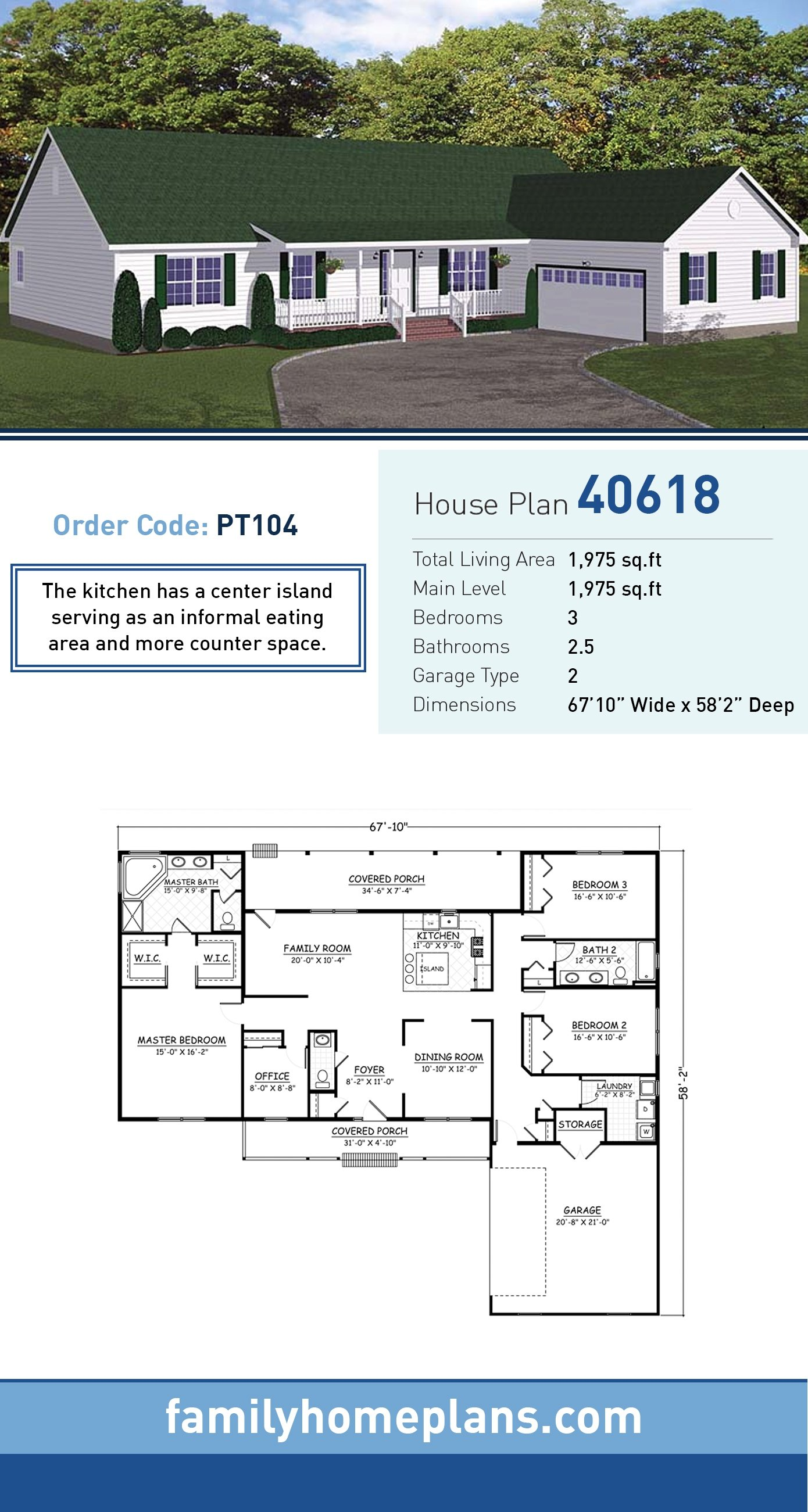 Country, Ranch, Traditional House Plan 40618 with 3 Beds, 3 Baths, 2 Car Garage