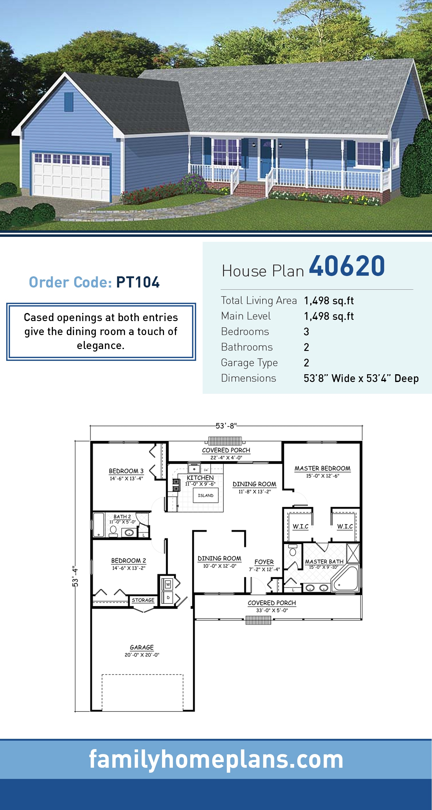 Country, Ranch House Plan 40620 with 3 Beds, 2 Baths, 2 Car Garage
