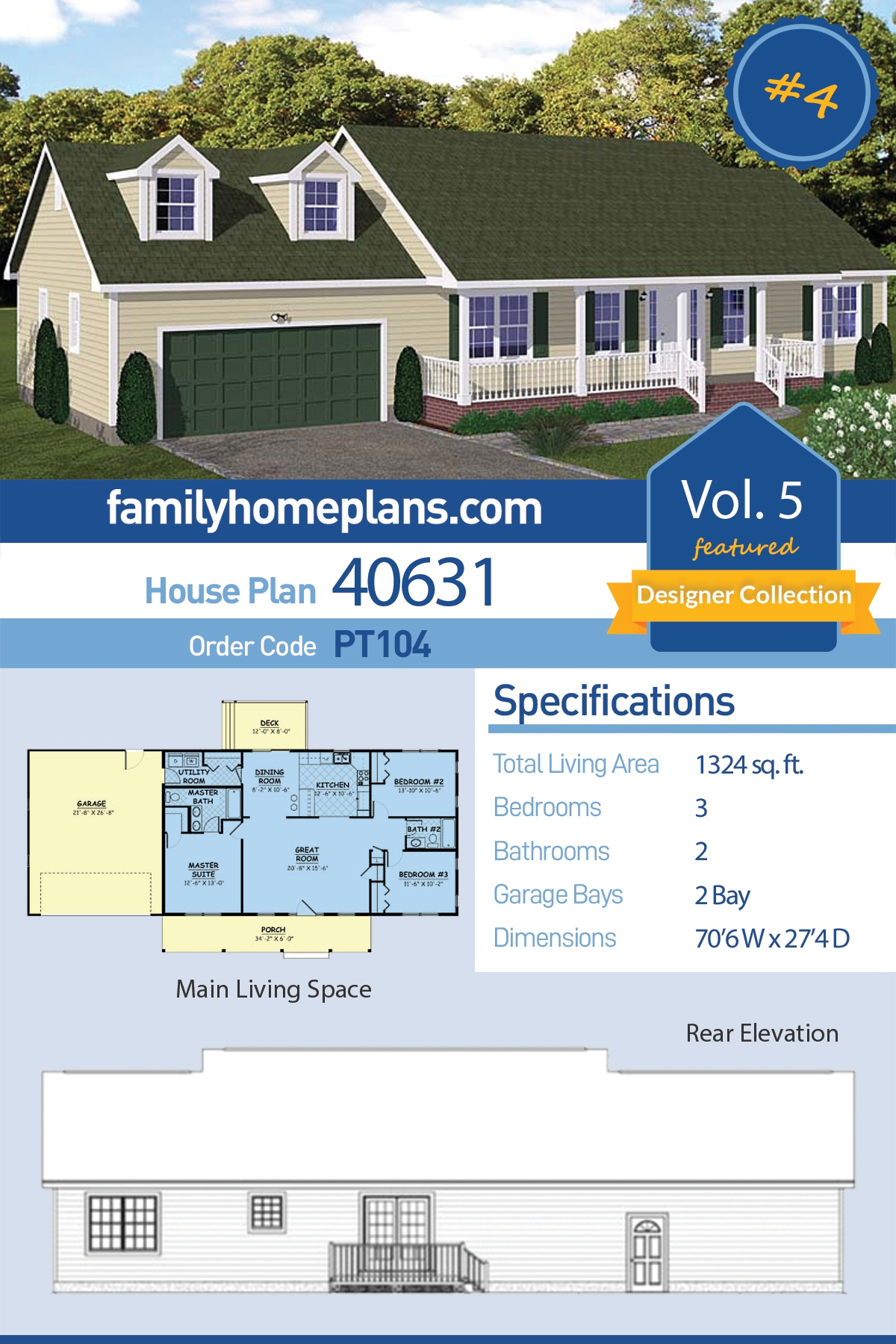 Country , Ranch , Southern House Plan 40631 with 3 Beds, 2 Baths, 2 Car Garage