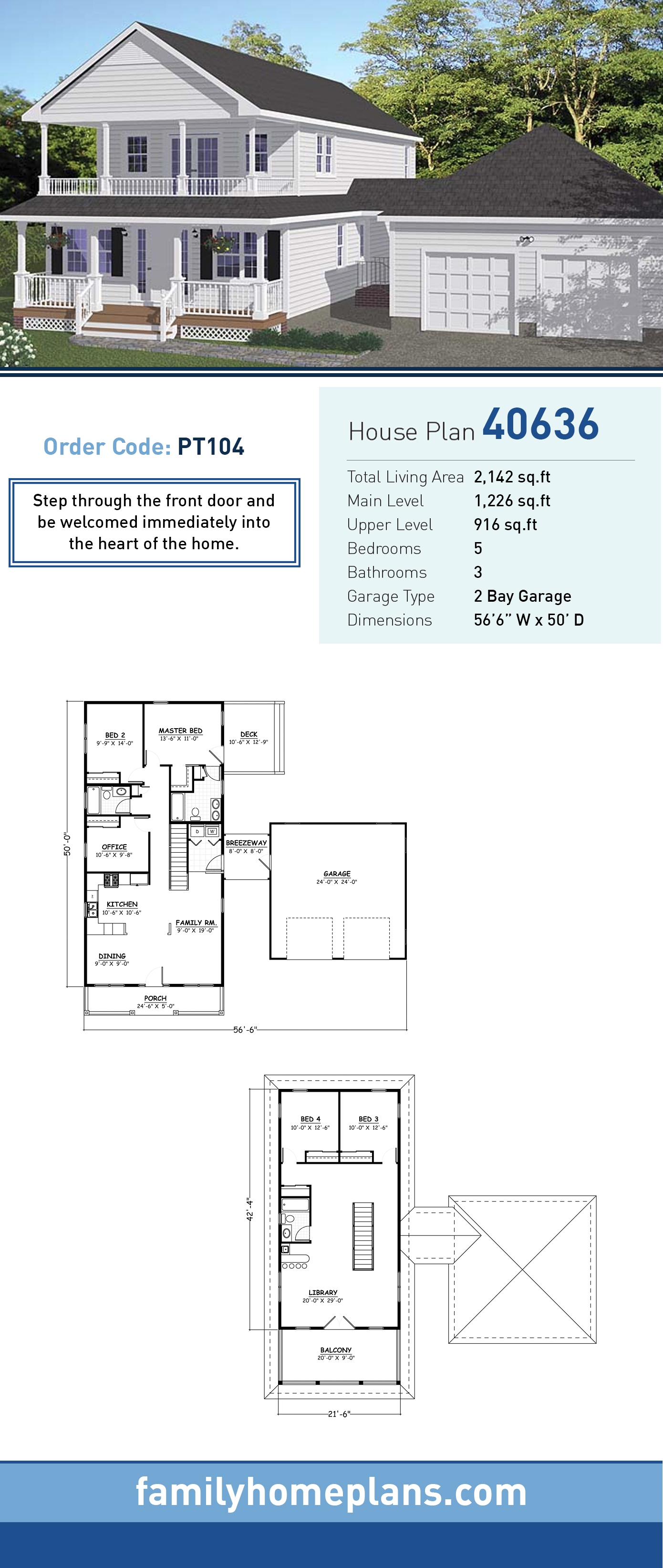 Country, Southern, Traditional House Plan 40636 with 5 Beds, 3 Baths, 2 Car Garage