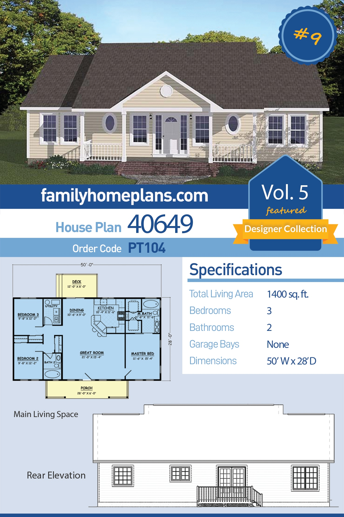 Ranch, Traditional House Plan 40649 with 3 Beds, 2 Baths