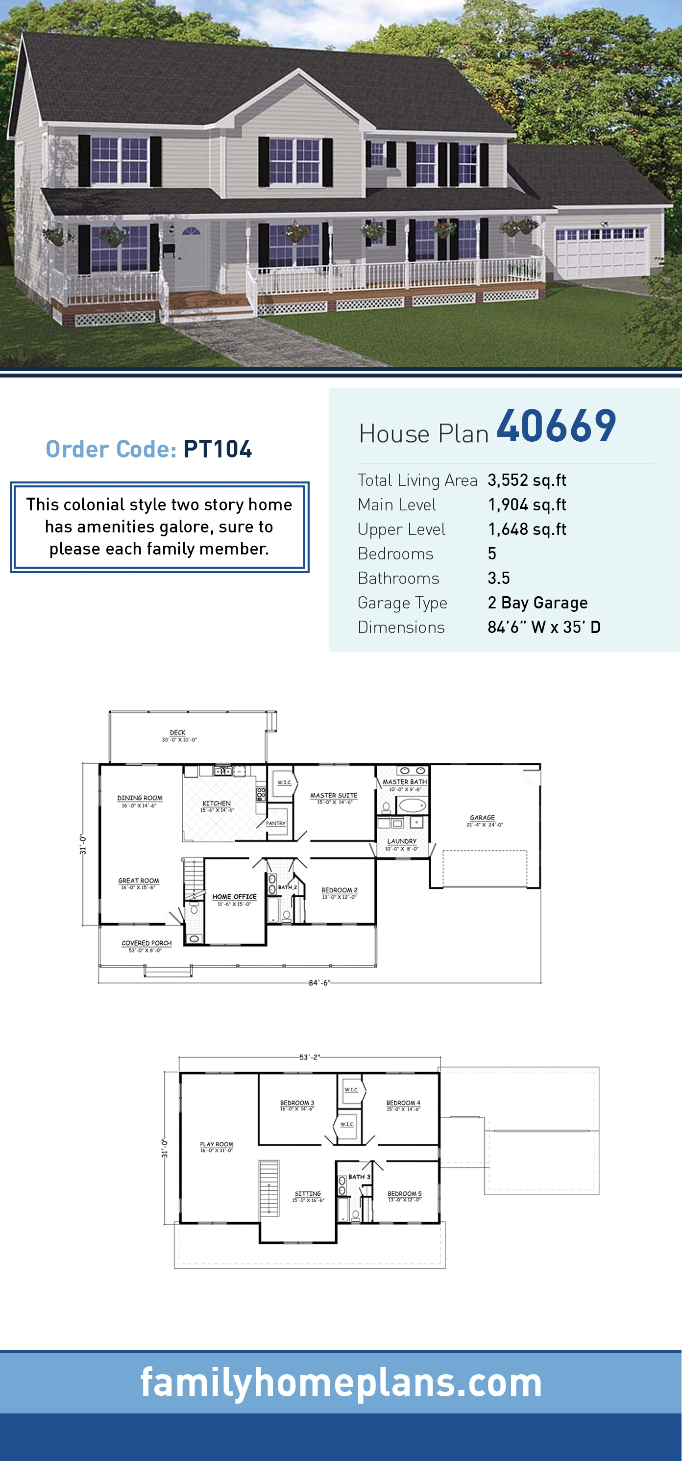 Colonial, Country, Southern, Traditional House Plan 40669 with 5 Beds, 4 Baths, 2 Car Garage