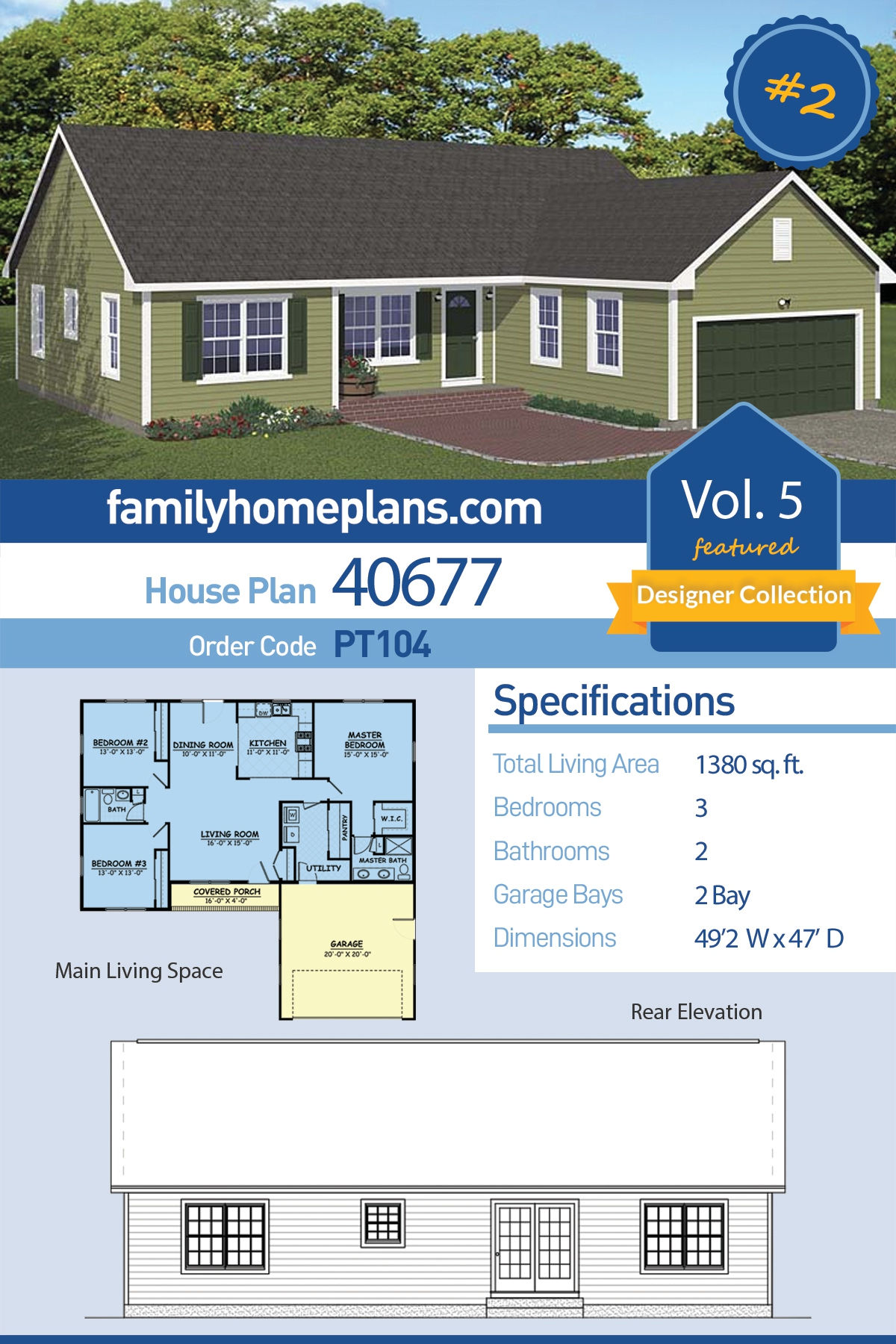Ranch , Traditional House Plan 40677 with 3 Beds, 2 Baths, 2 Car Garage