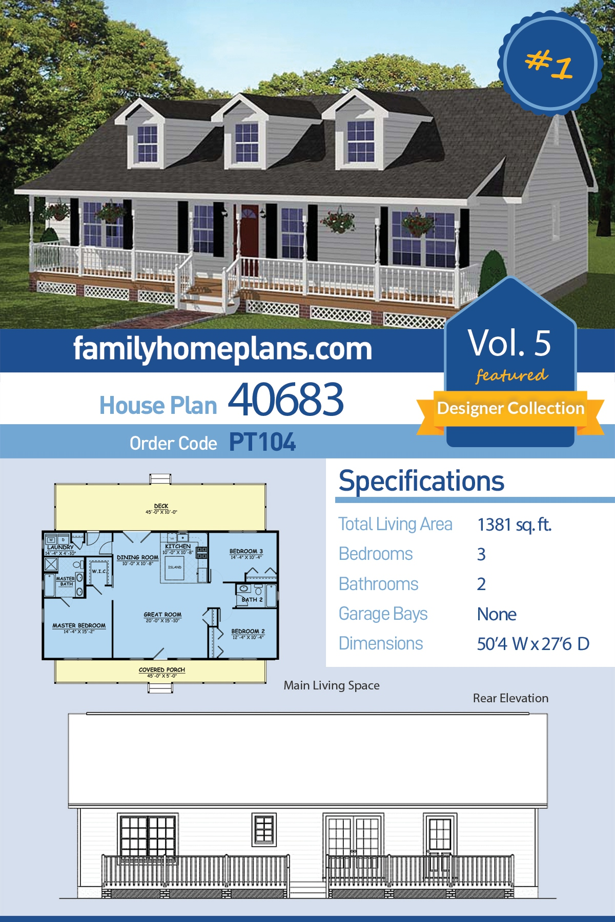 Country , Ranch , Southern House Plan 40683 with 3 Beds, 2 Baths