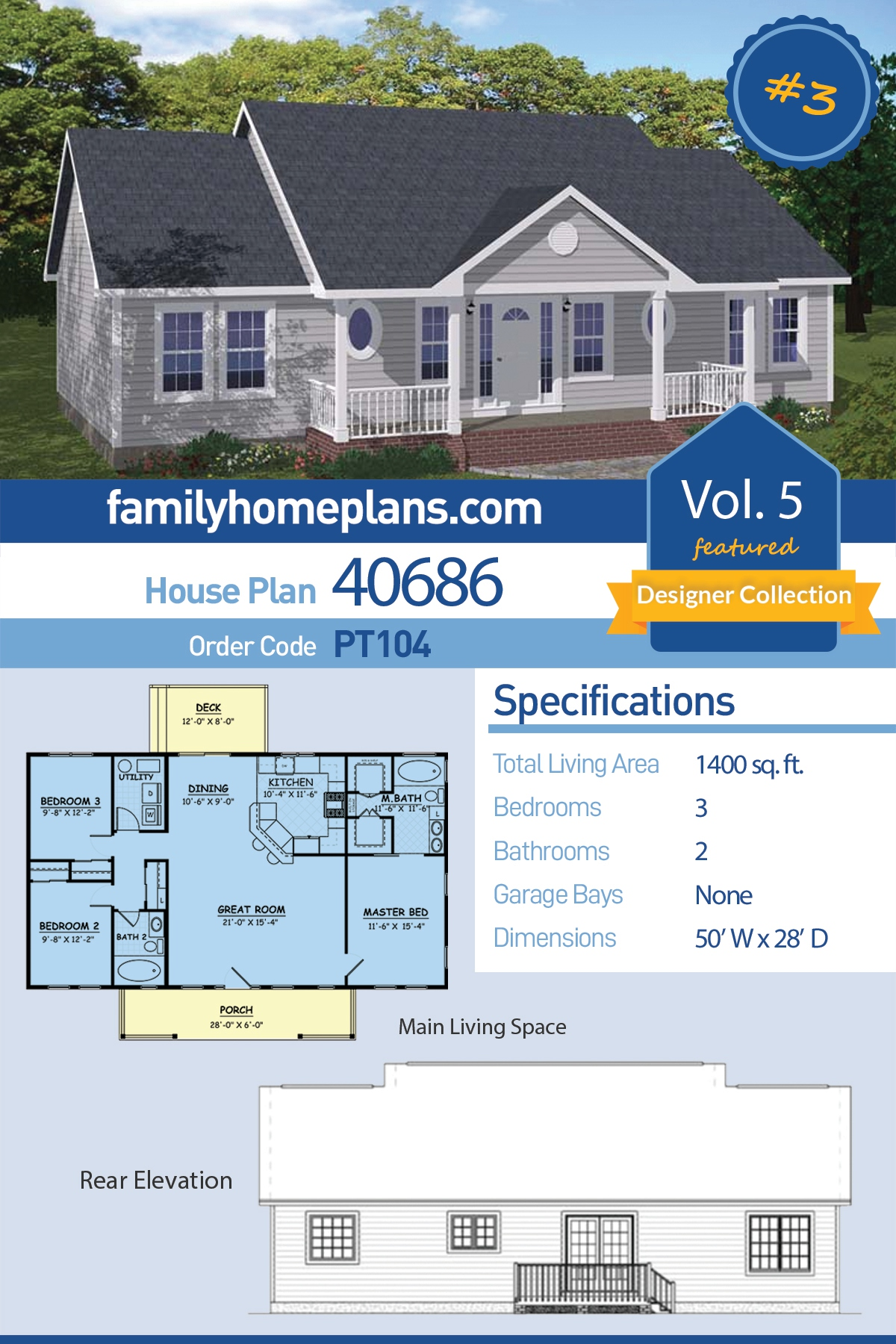 Country , Ranch House Plan 40686 with 3 Beds, 2 Baths
