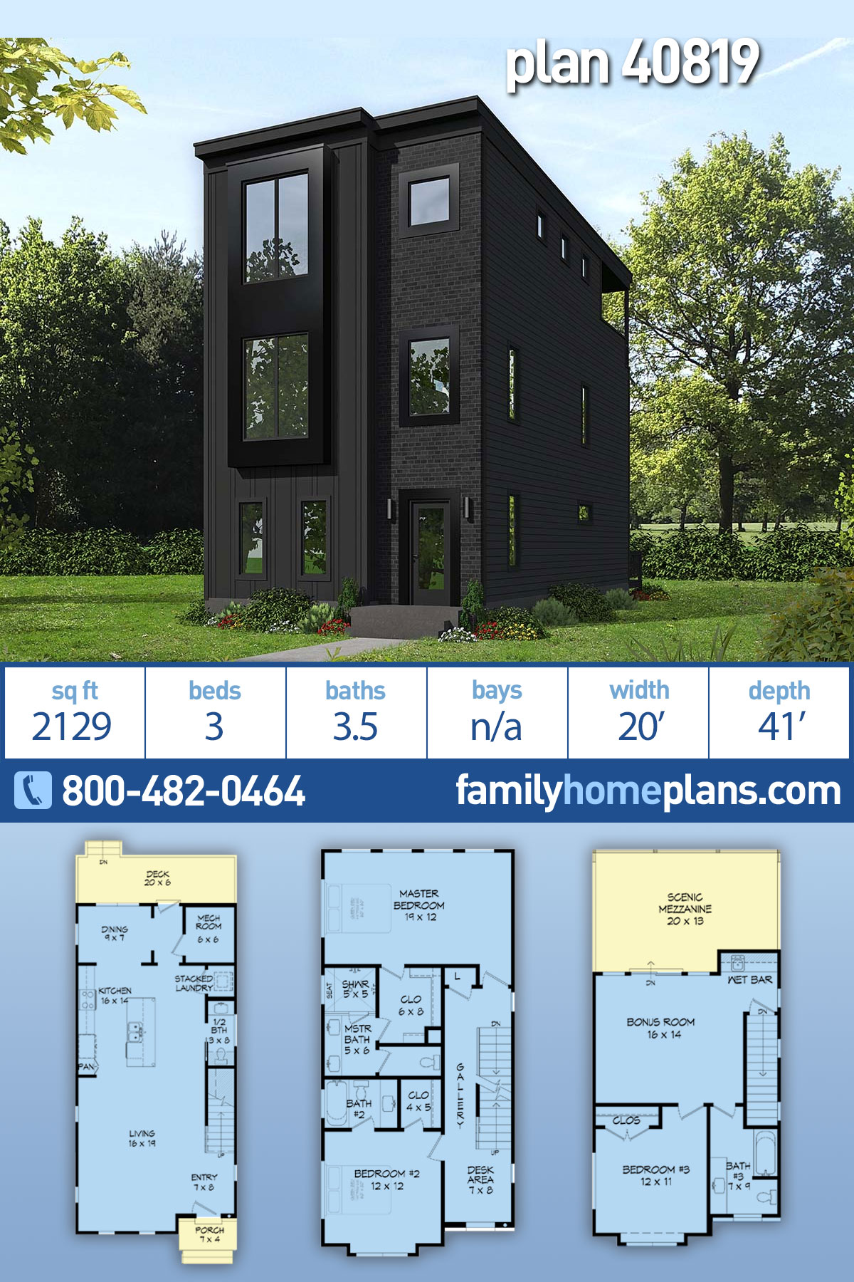 Contemporary, Modern, Narrow Lot House Plan 40819 with 3 Beds, 4 Baths