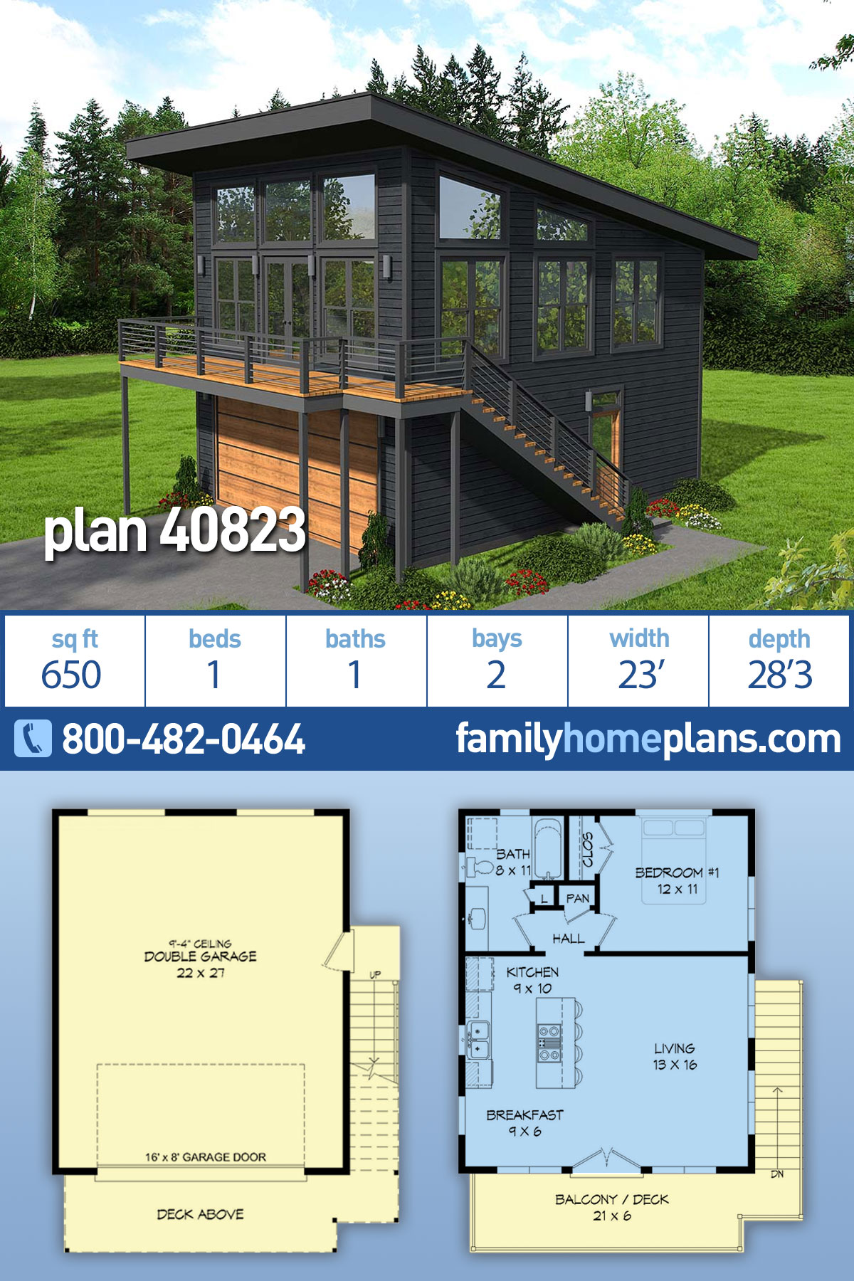 Contemporary, Modern 2 Car Garage Apartment Plan 40823 with 1 Beds, 1 Baths