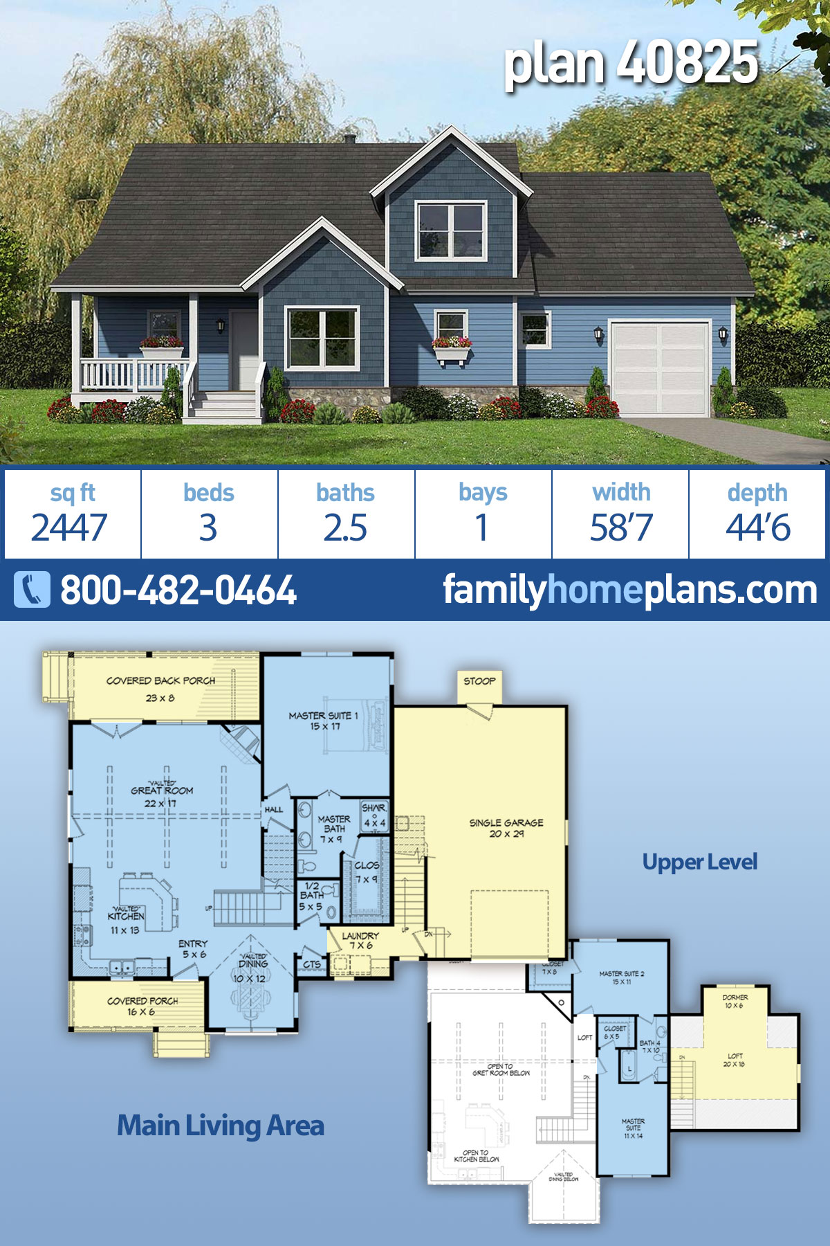 Country, Farmhouse, Traditional House Plan 40825 with 3 Beds, 3 Baths, 1 Car Garage