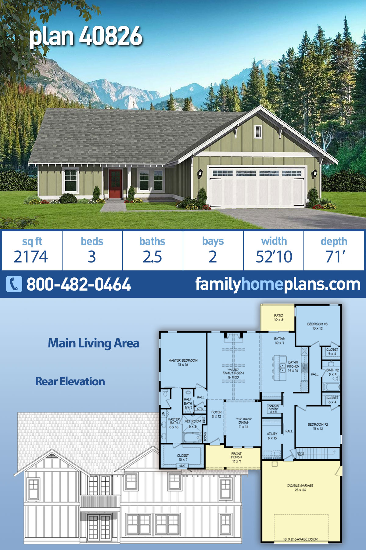 Cottage, Craftsman, Ranch House Plan 40826 with 3 Beds, 3 Baths, 2 Car Garage
