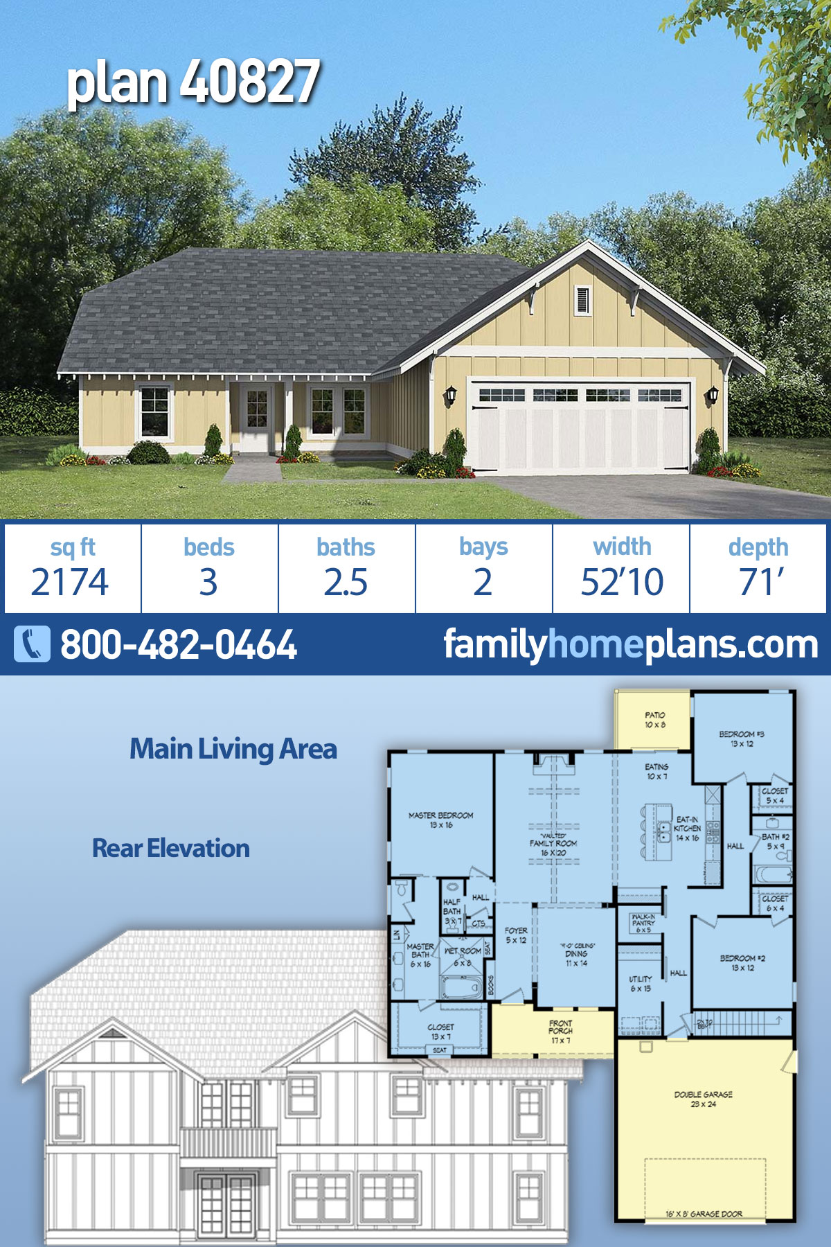 Cottage, Craftsman, Ranch House Plan 40827 with 3 Beds, 3 Baths, 2 Car Garage