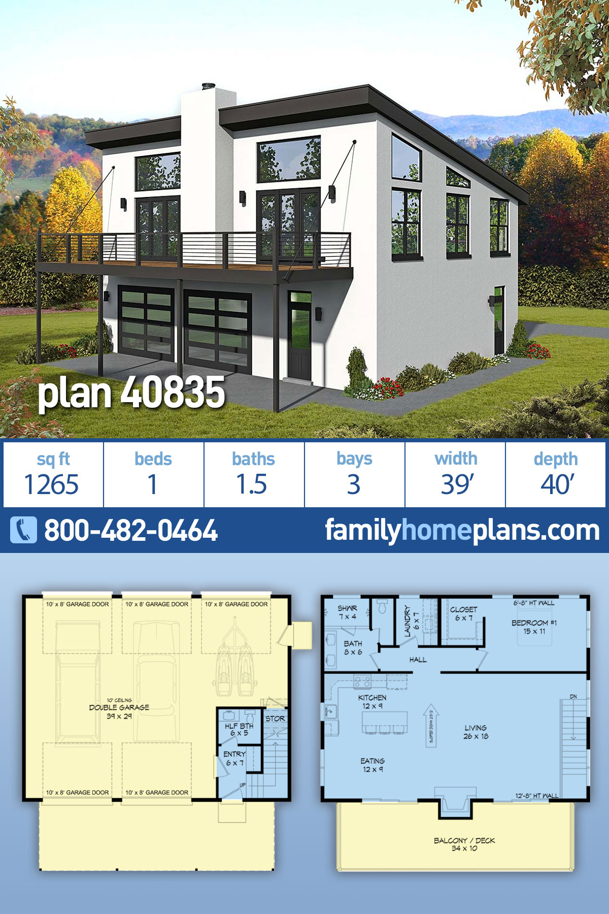 Coastal, Contemporary, Modern, Traditional House Plan 40835 with 1 Beds , 2 Baths , 3 Car Garage