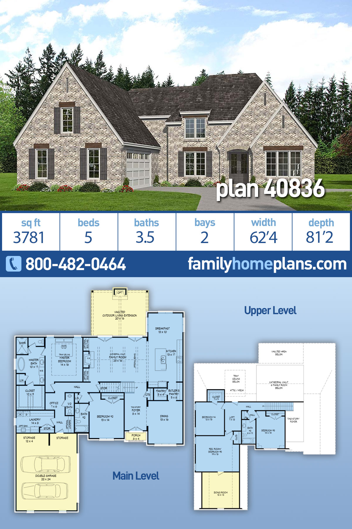 Country, European, French Country, Modern Farmhouse, Traditional House Plan 40836 with 5 Beds , 4 Baths , 2 Car Garage