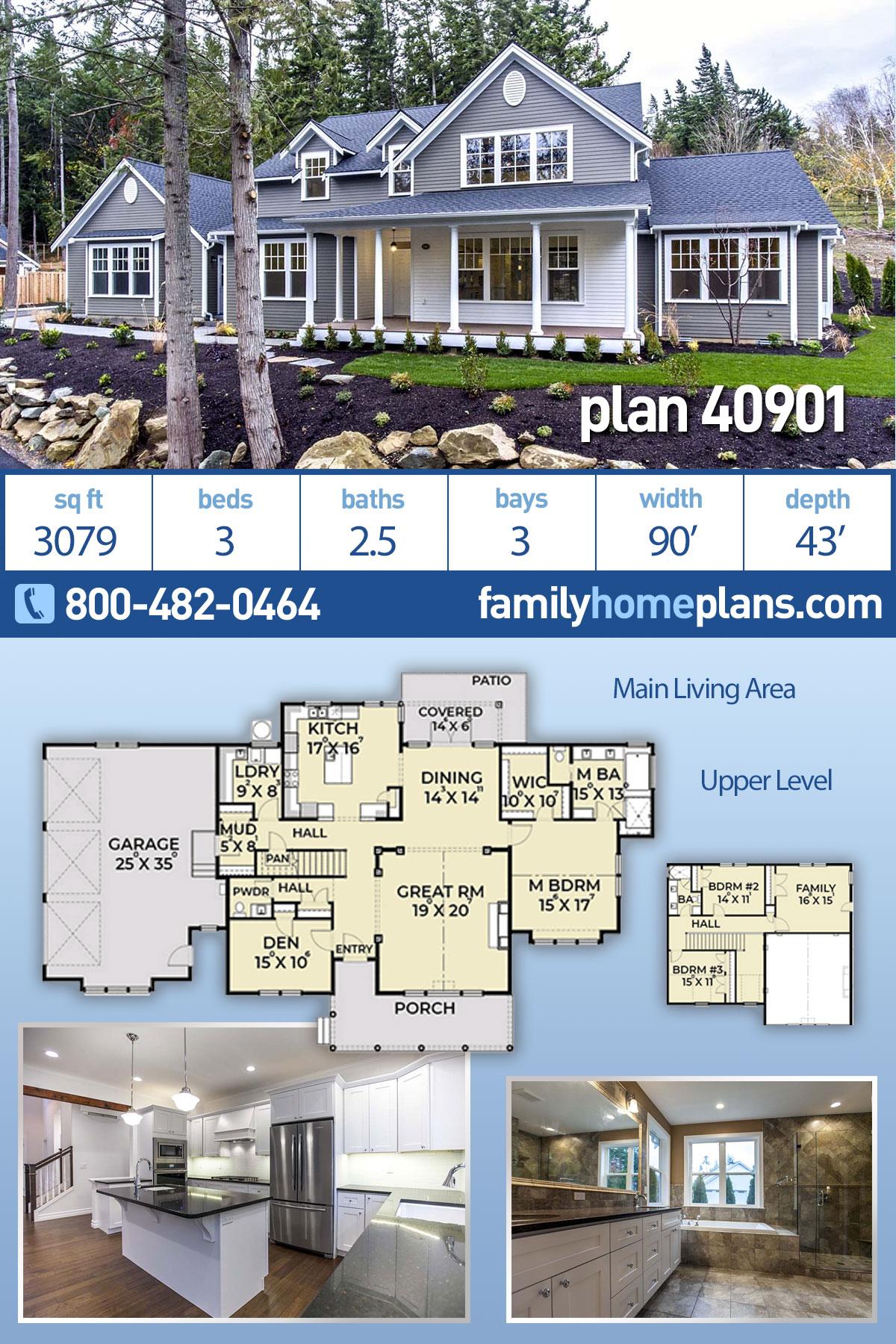 Coastal, Farmhouse House Plan 40901 with 3 Beds, 3 Baths, 3 Car Garage