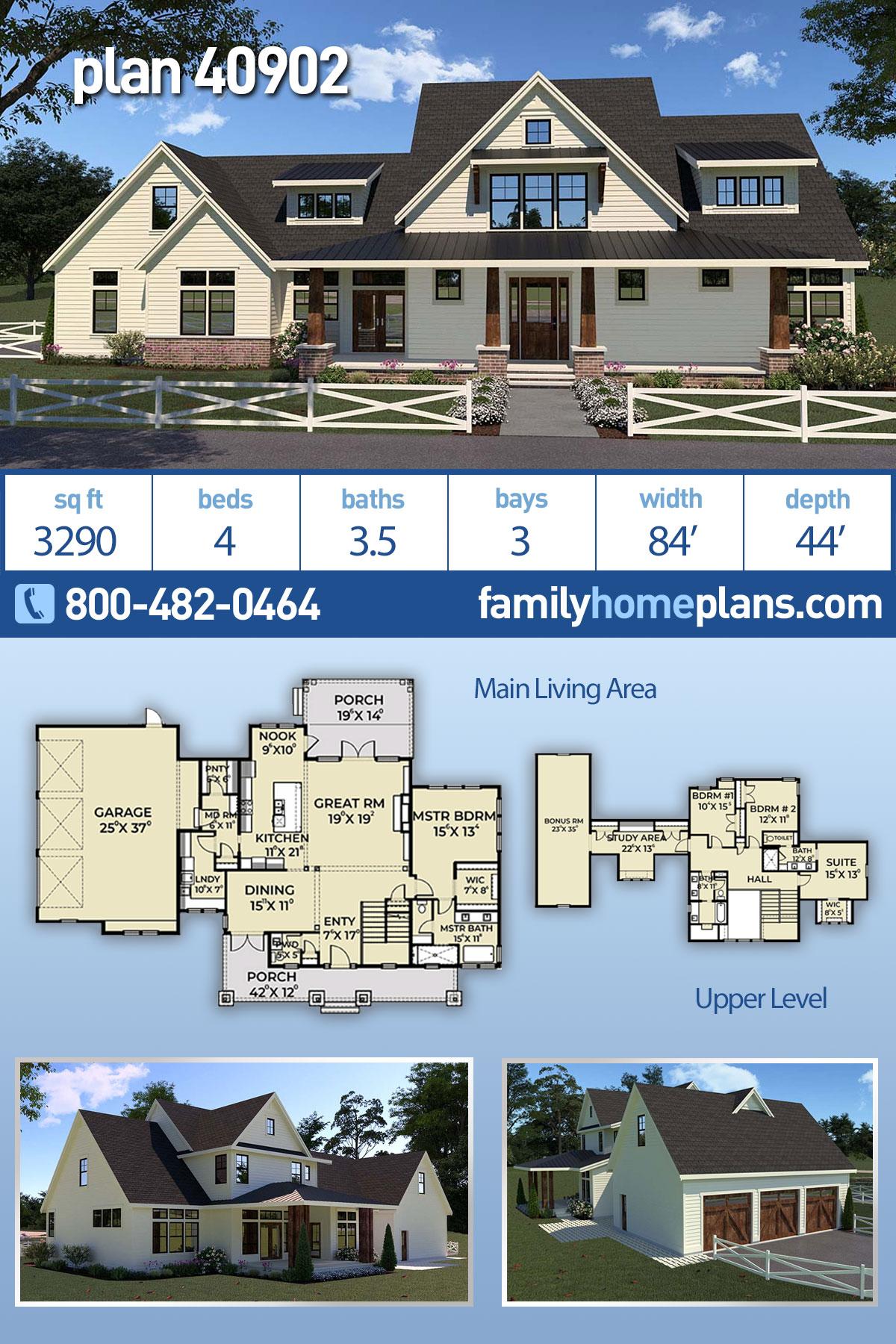 Contemporary, Farmhouse House Plan 40902 with 4 Beds, 4 Baths, 3 Car Garage