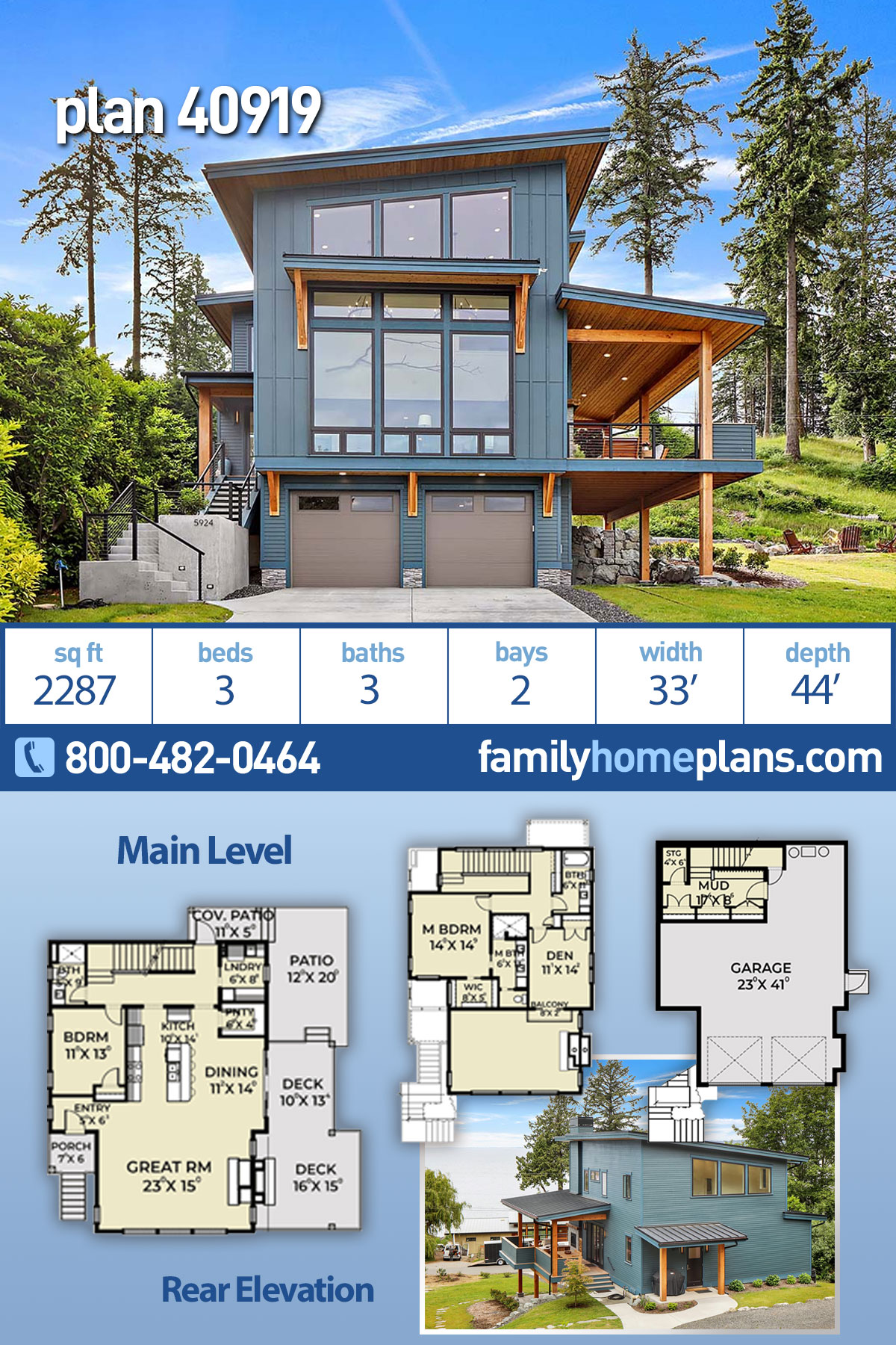 Contemporary, Modern House Plan 40919 with 3 Beds, 3 Baths, 2 Car Garage