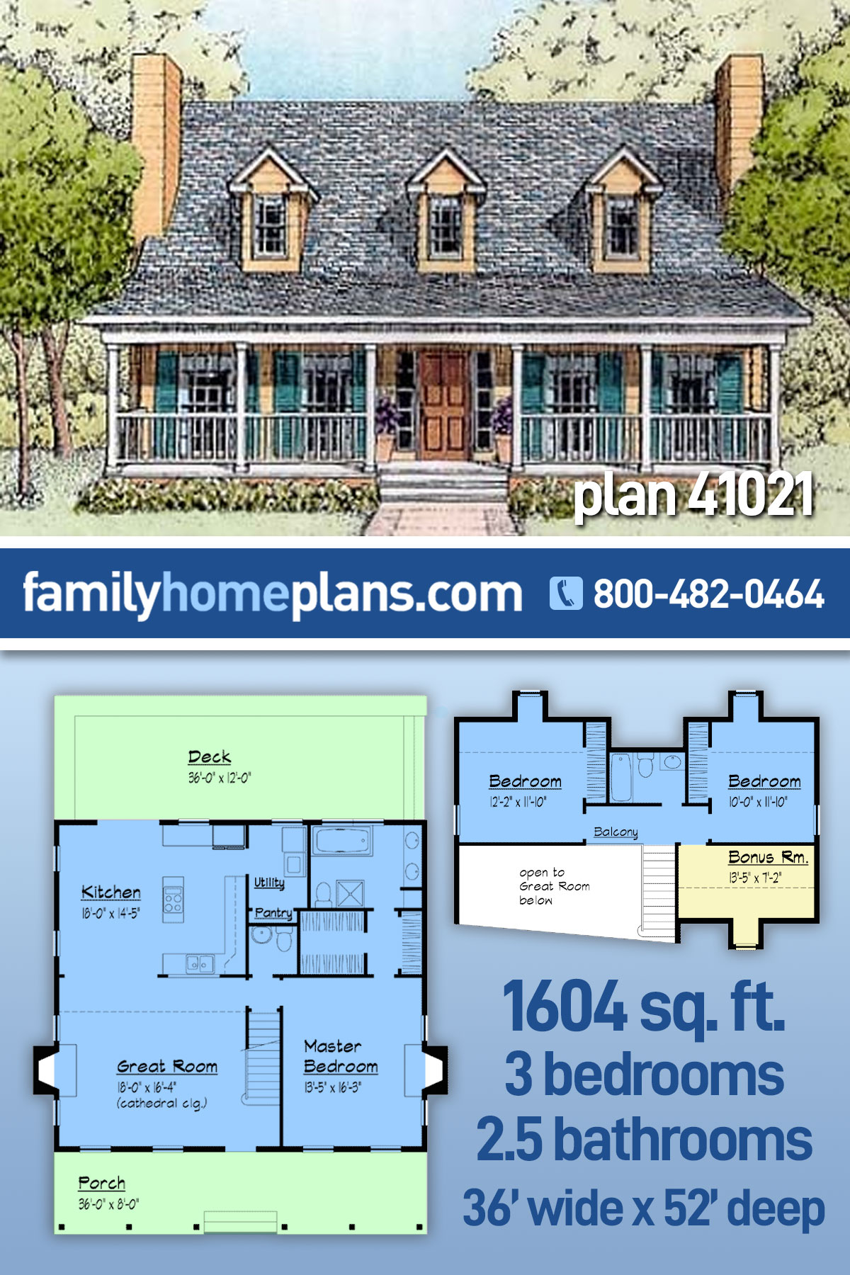 Country House Plan 41021 with 3 Beds, 3 Baths