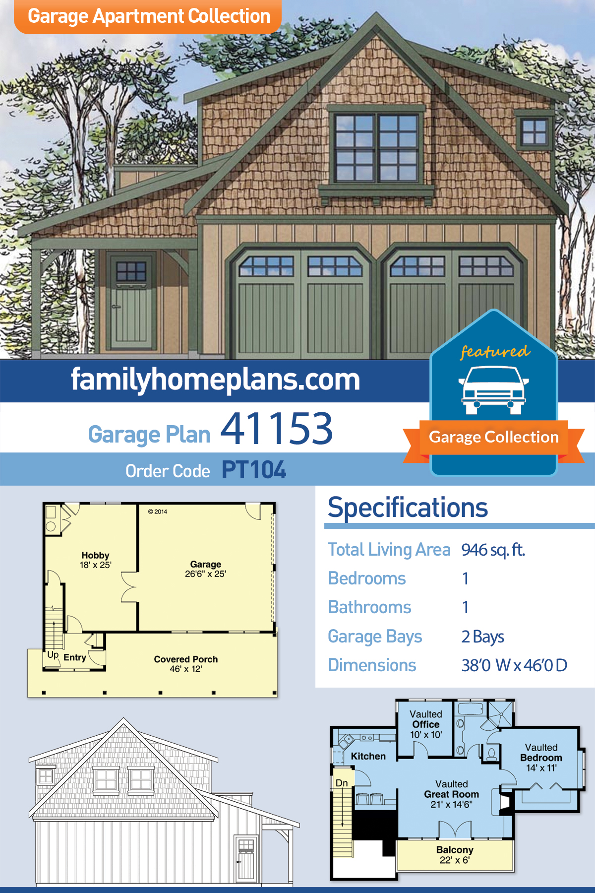 Craftsman 2 Car Garage Apartment Plan 41153 with 1 Beds, 1 Baths
