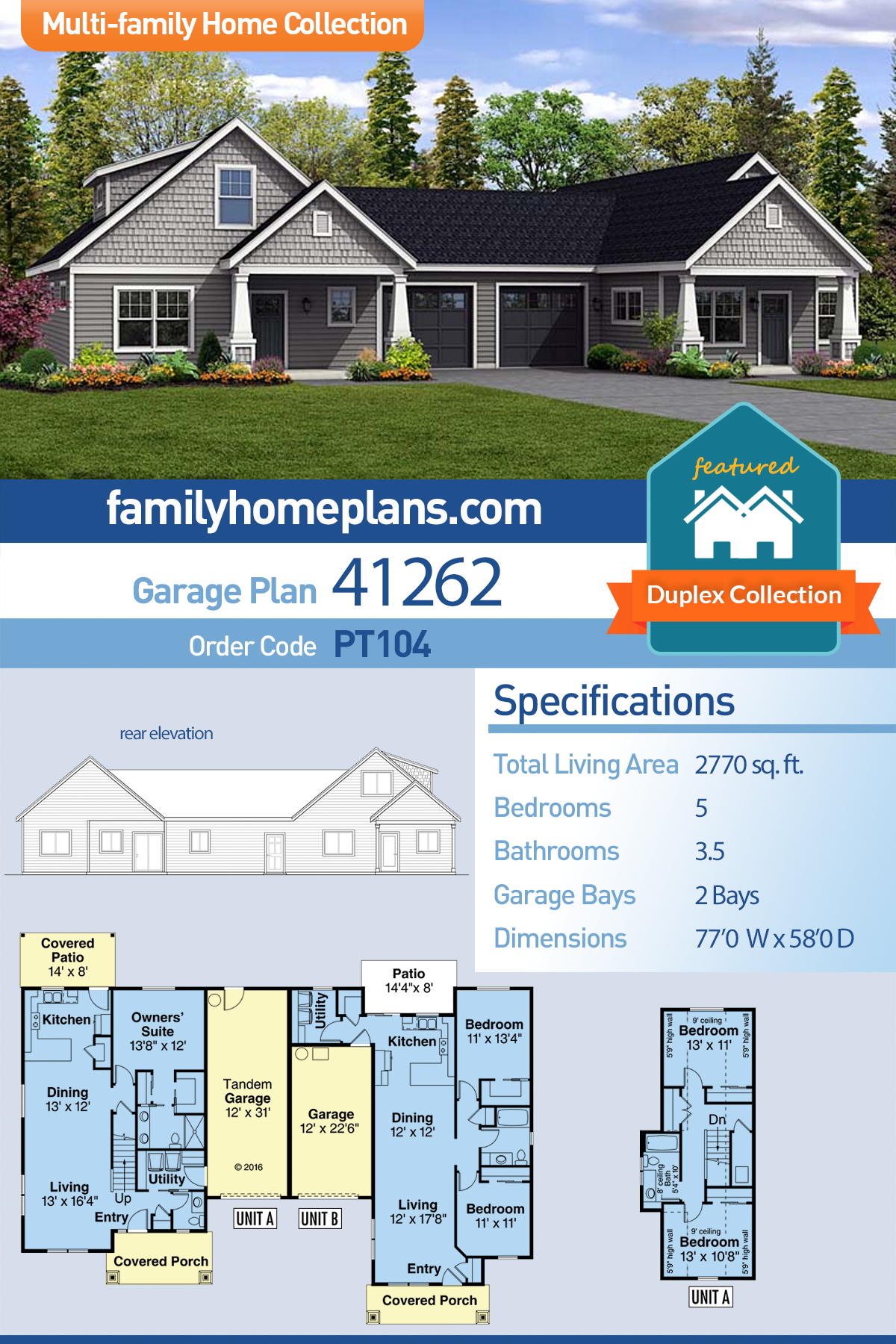 Cottage, Country, Craftsman Multi-Family Plan 41262 with 5 Beds, 4 Baths, 2 Car Garage