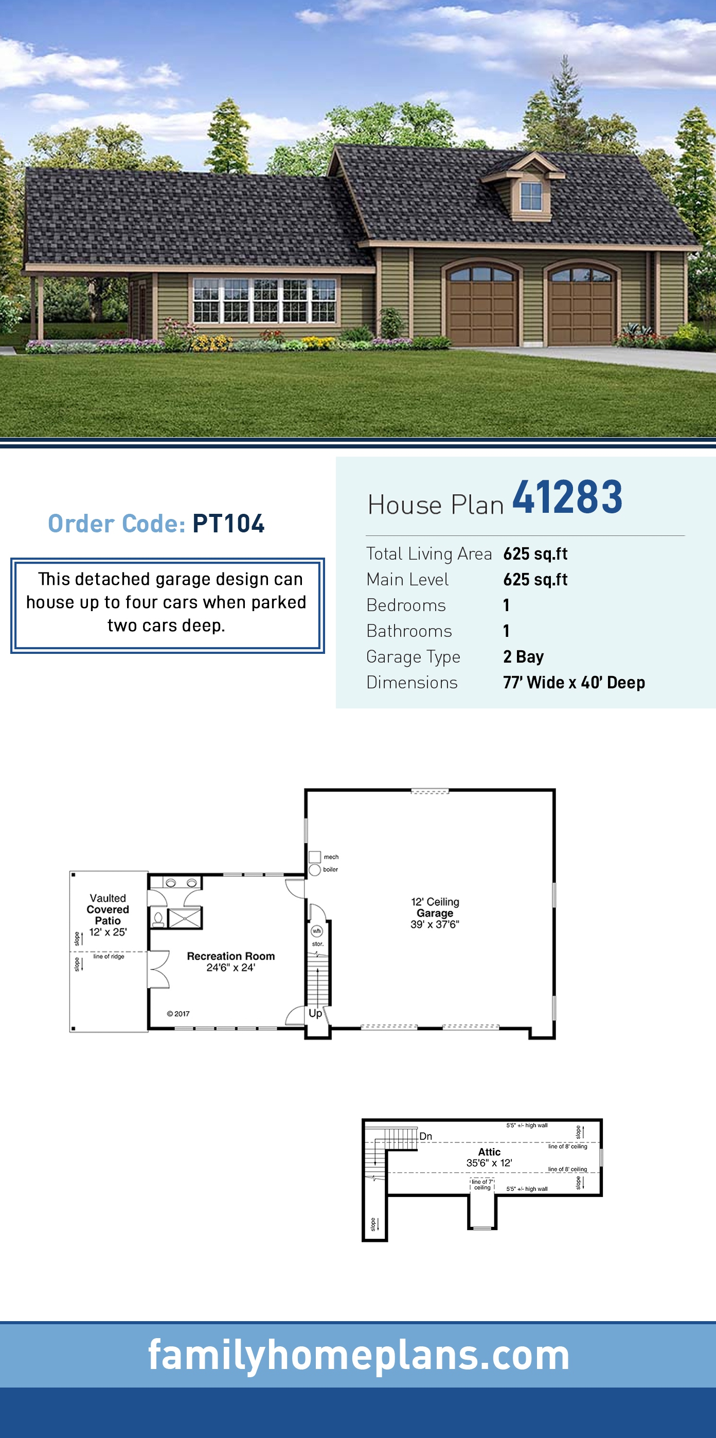 Ranch, Traditional 2 Car Garage Plan 41283 with 1 Beds, 1 Baths