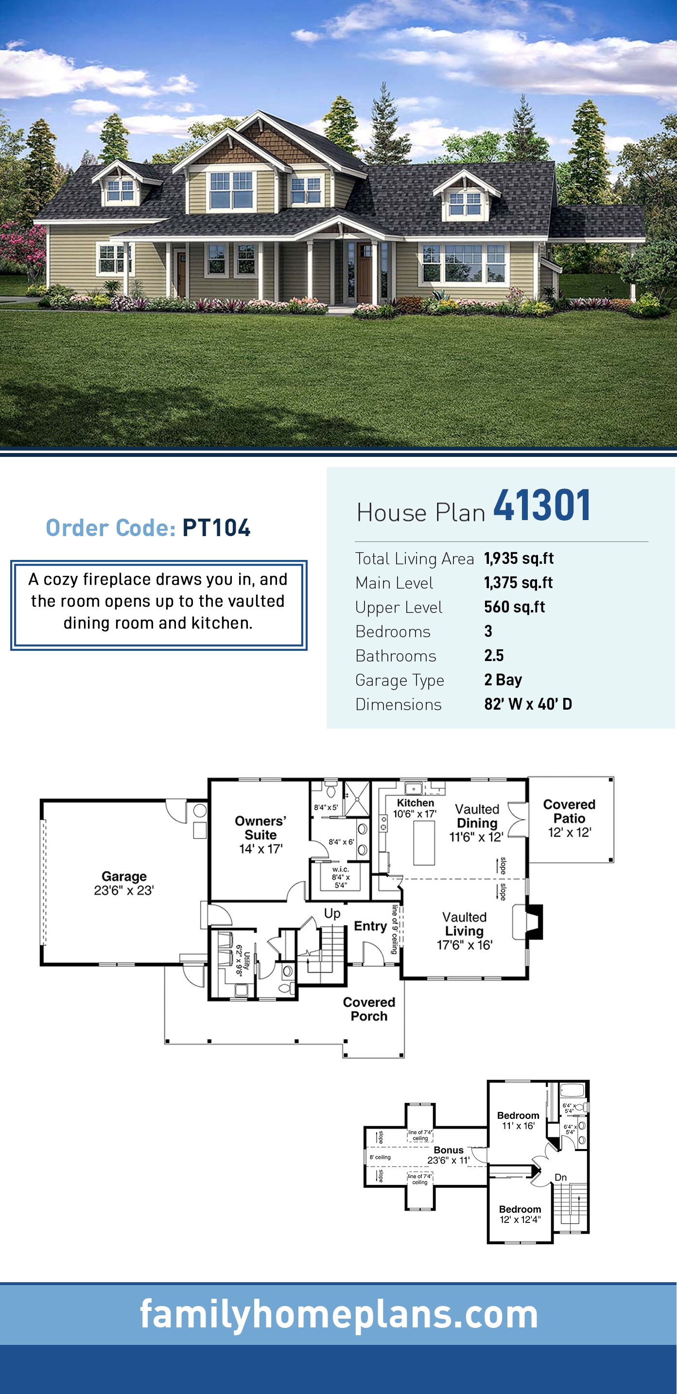Country , Traditional House Plan 41301 with 3 Beds, 3 Baths, 2 Car Garage