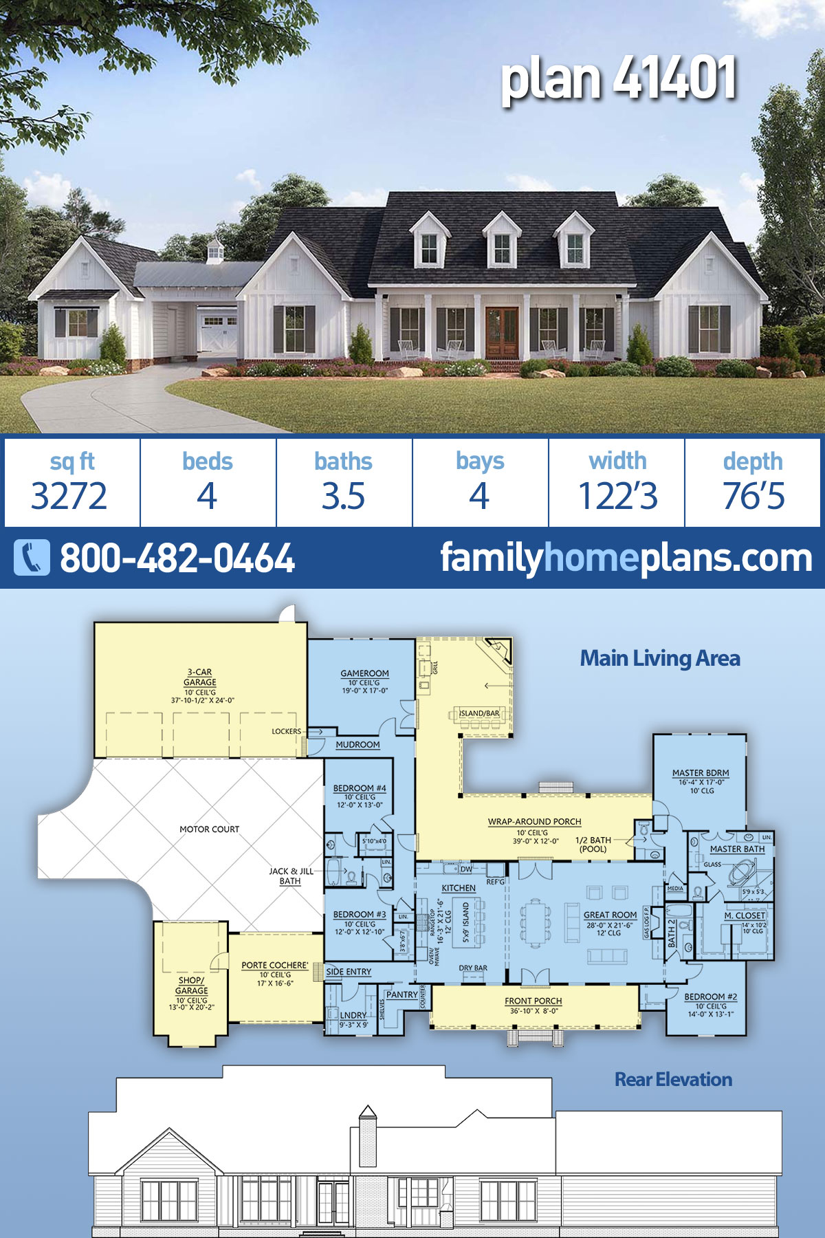 Country , Farmhouse , Traditional House Plan 41401 with 4 Beds, 4 Baths, 4 Car Garage