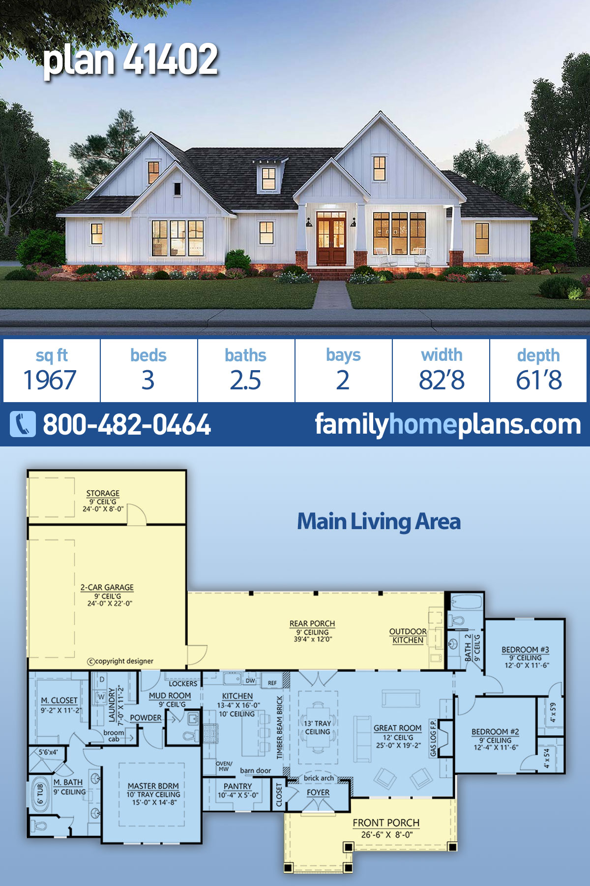 Country, Farmhouse, Traditional House Plan 41402 with 3 Beds , 3 Baths , 2 Car Garage