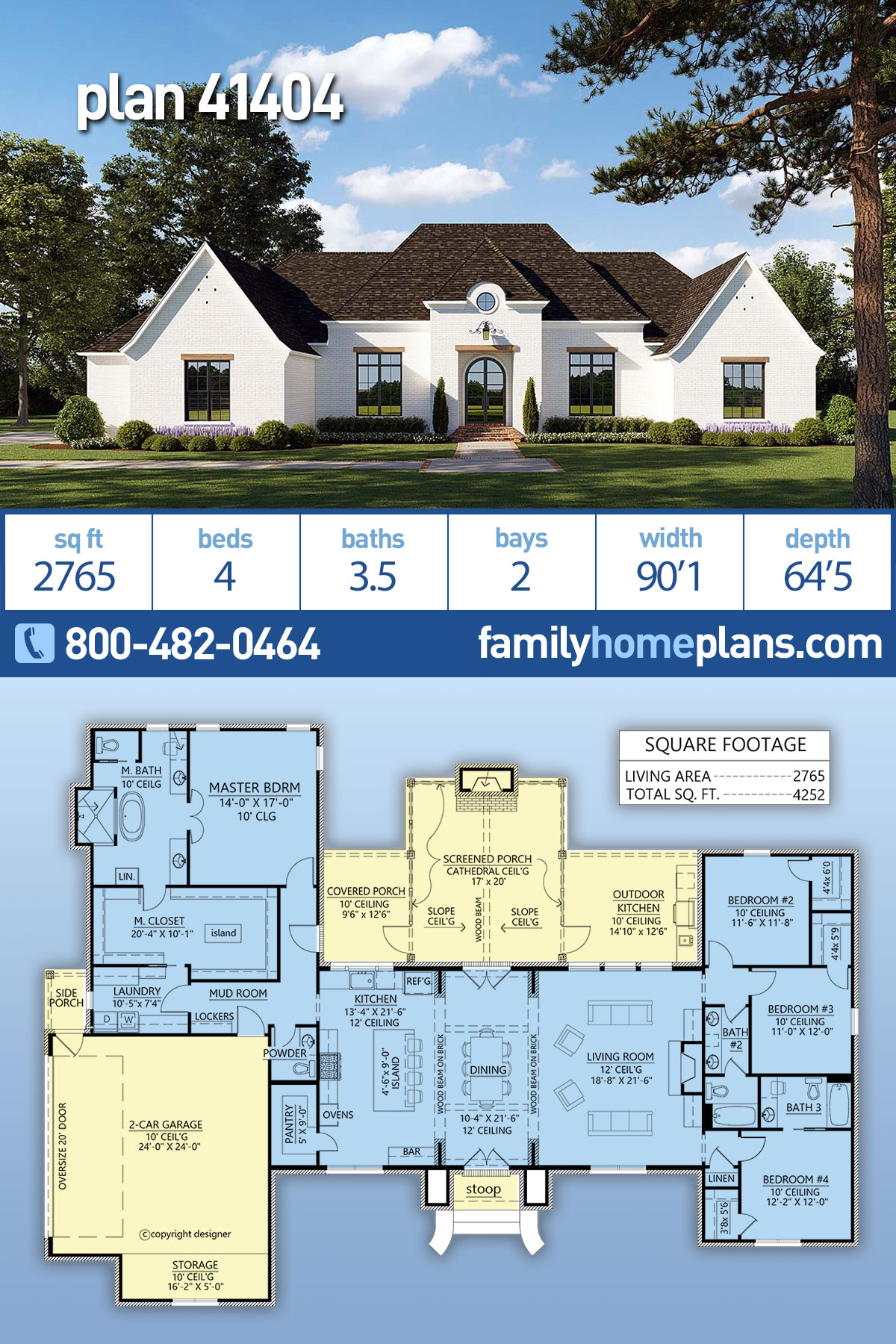 European, French Country, Traditional House Plan 41404 with 4 Beds , 4 Baths , 2 Car Garage