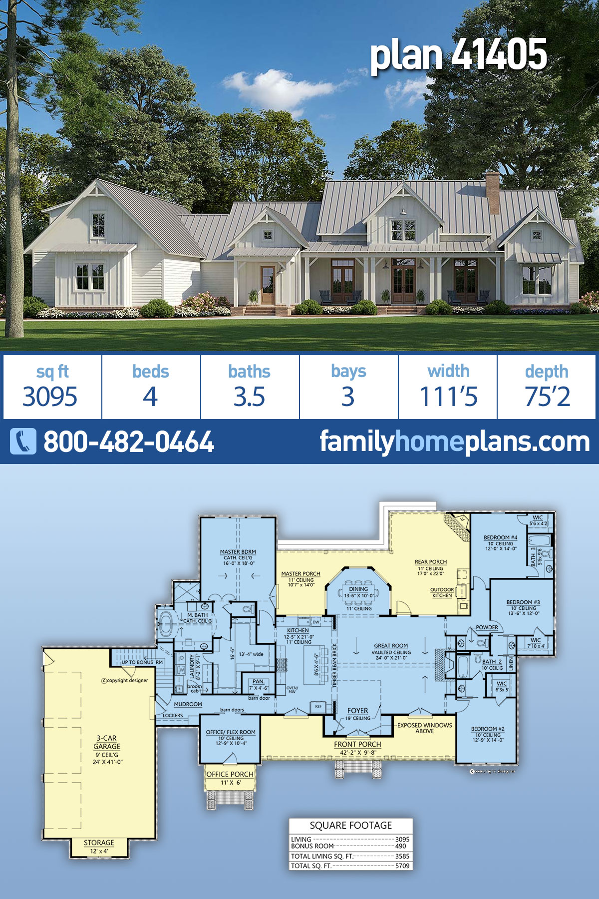 Country , Modern Farmhouse House Plan 41405 with 4 Beds, 4 Baths, 3 Car Garage