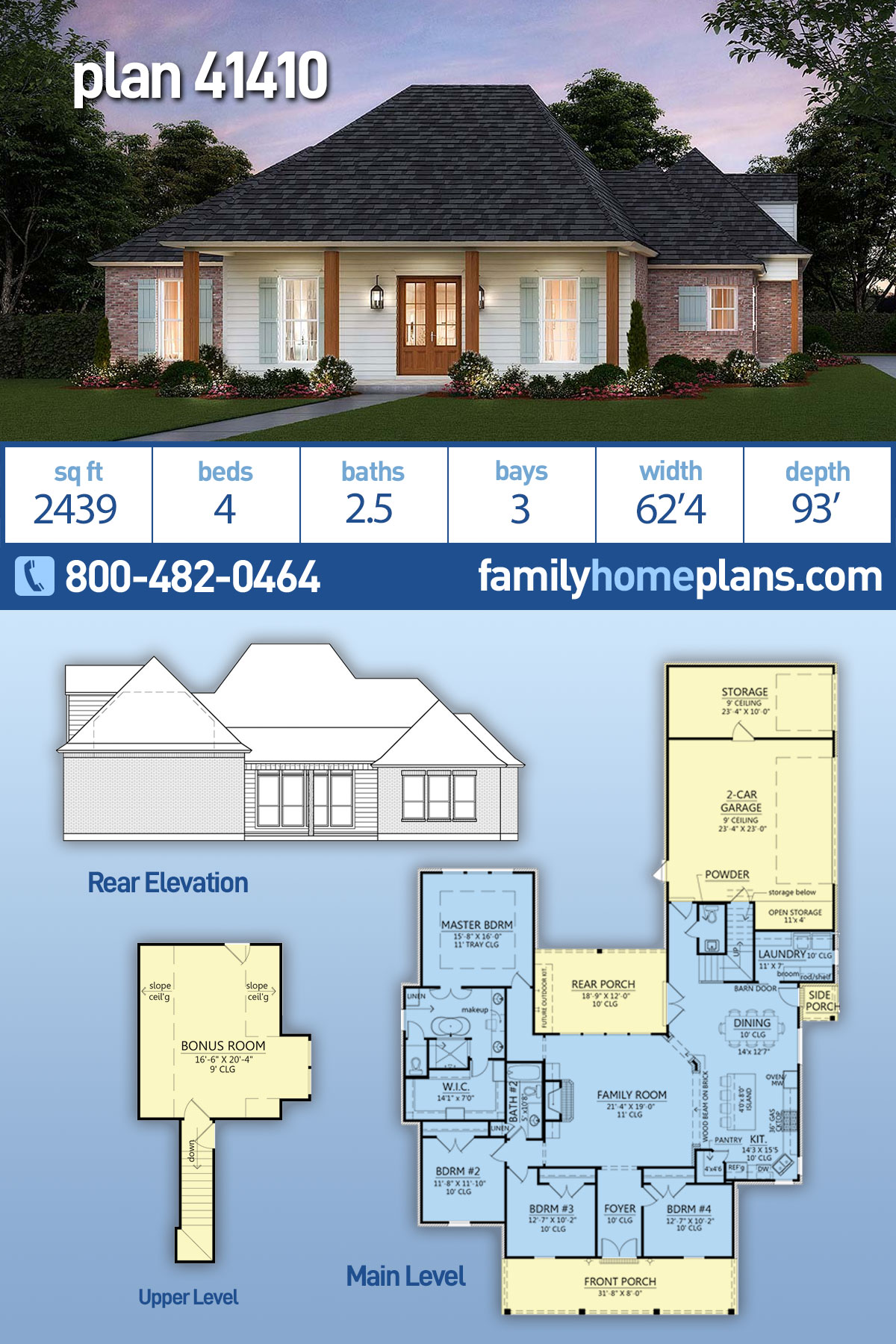 Colonial, Country, Traditional House Plan 41410 with 4 Beds, 3 Baths, 3 Car Garage